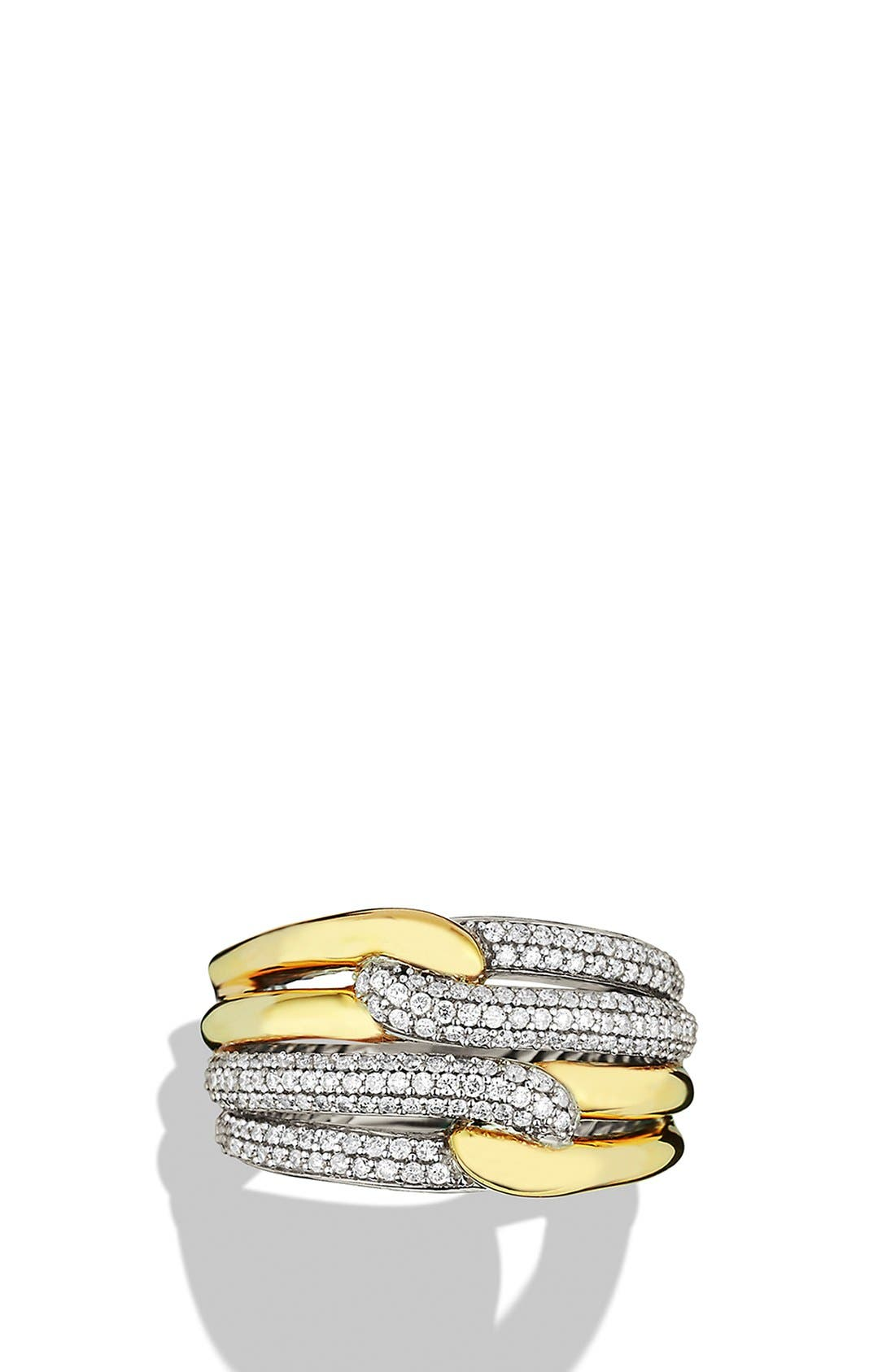 Alternate Image 3  - David Yurman 'Labyrinth' Double Loop Ring with Diamonds and Gold