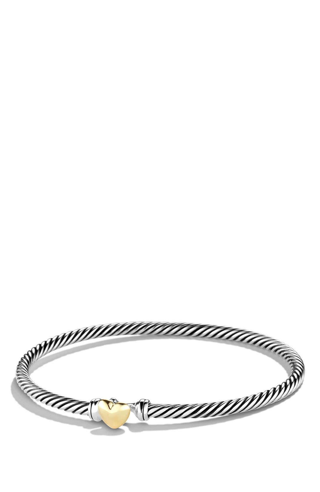 Cable Collectibles Heart Bracelet with 18K Gold,                             Main thumbnail 1, color,                             Two Tone