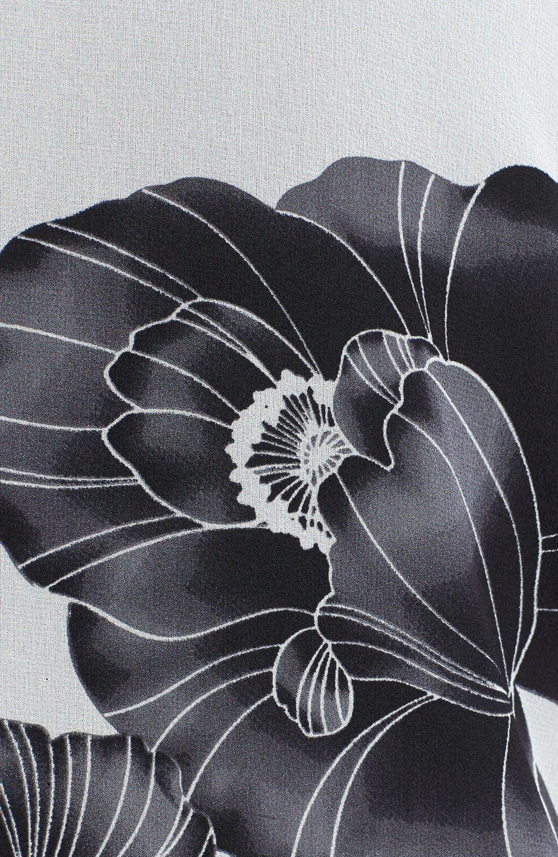Alternate Image 3  - Citron Floral Print Drape Front Jacket (Plus Size)