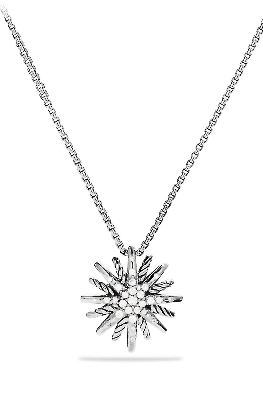 David Yurman 'Starburst' Small Pendant with Diamonds on Chain