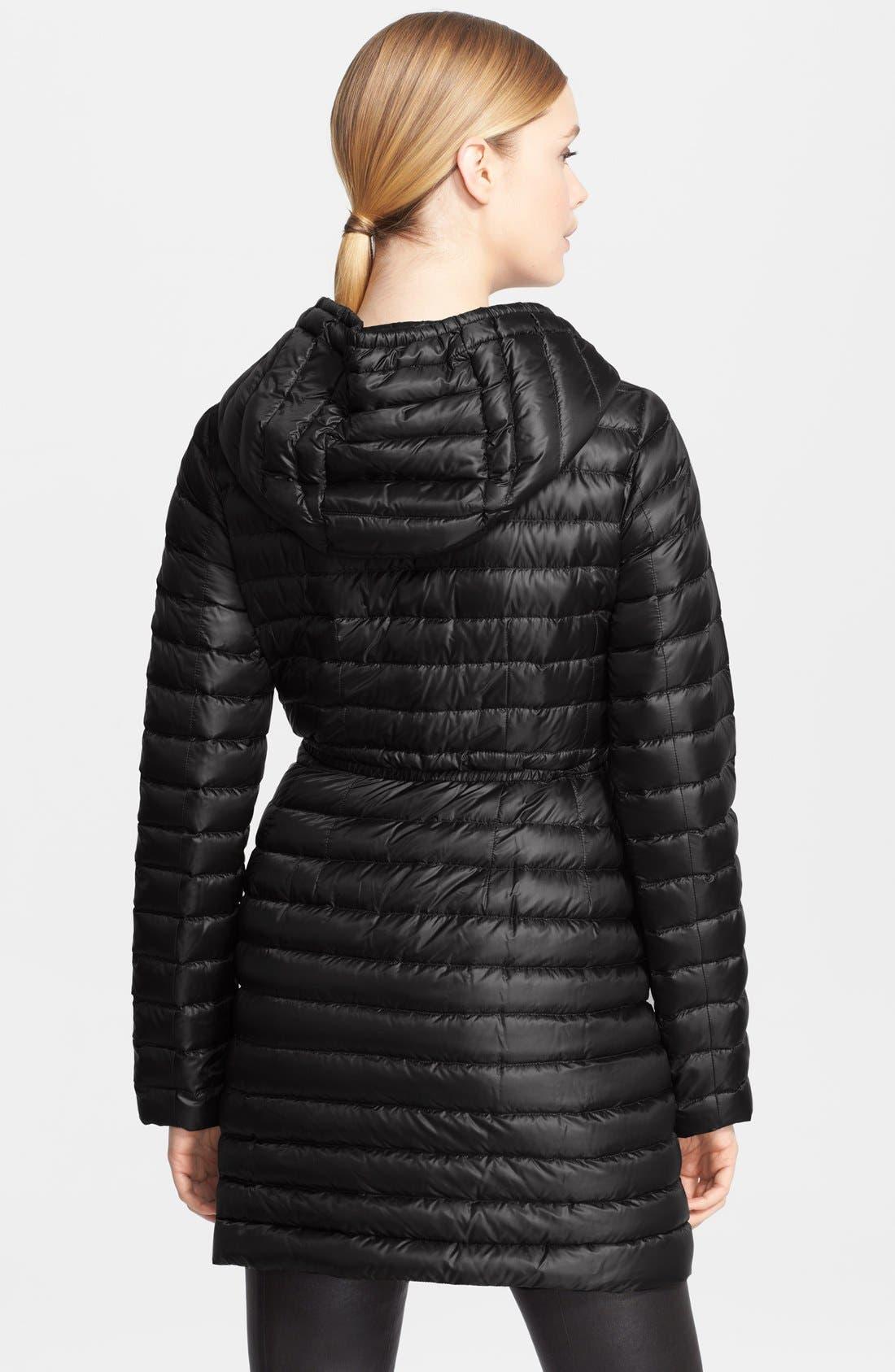 Alternate Image 2  - Moncler 'Barbel' Belted Hooded Down Coat