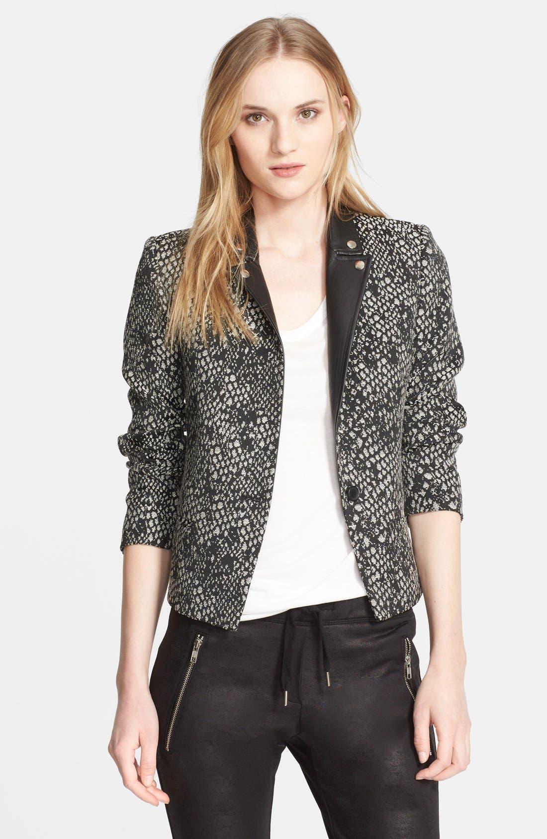 Main Image - The Kooples 'Peau de Bête' Leather Trim Jacquard Jacket
