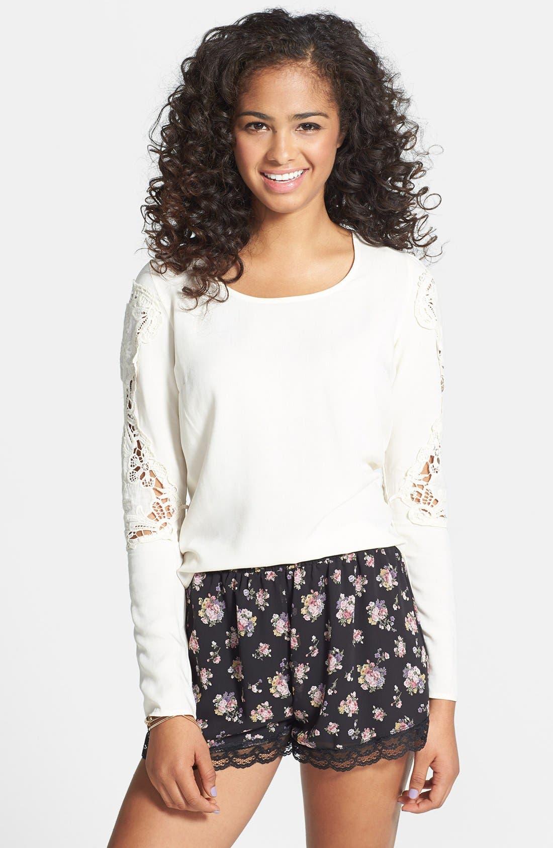 Alternate Image 1 Selected - Painted Threads Crochet Sleeve Envelope Back Tee (Juniors) (Online Only)