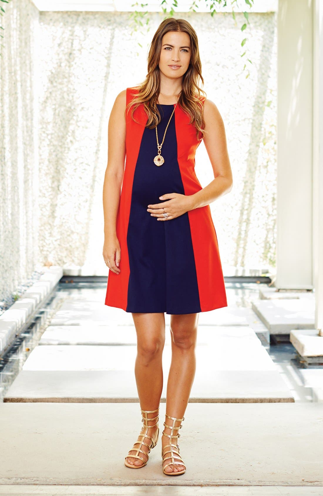 'Pyramid' Maternity Dress,                             Alternate thumbnail 2, color,                             Red/ Navy