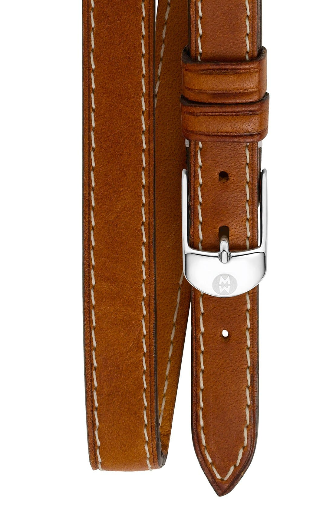 12mm Leather Double Wrap Watch Strap,                         Main,                         color, Saddle