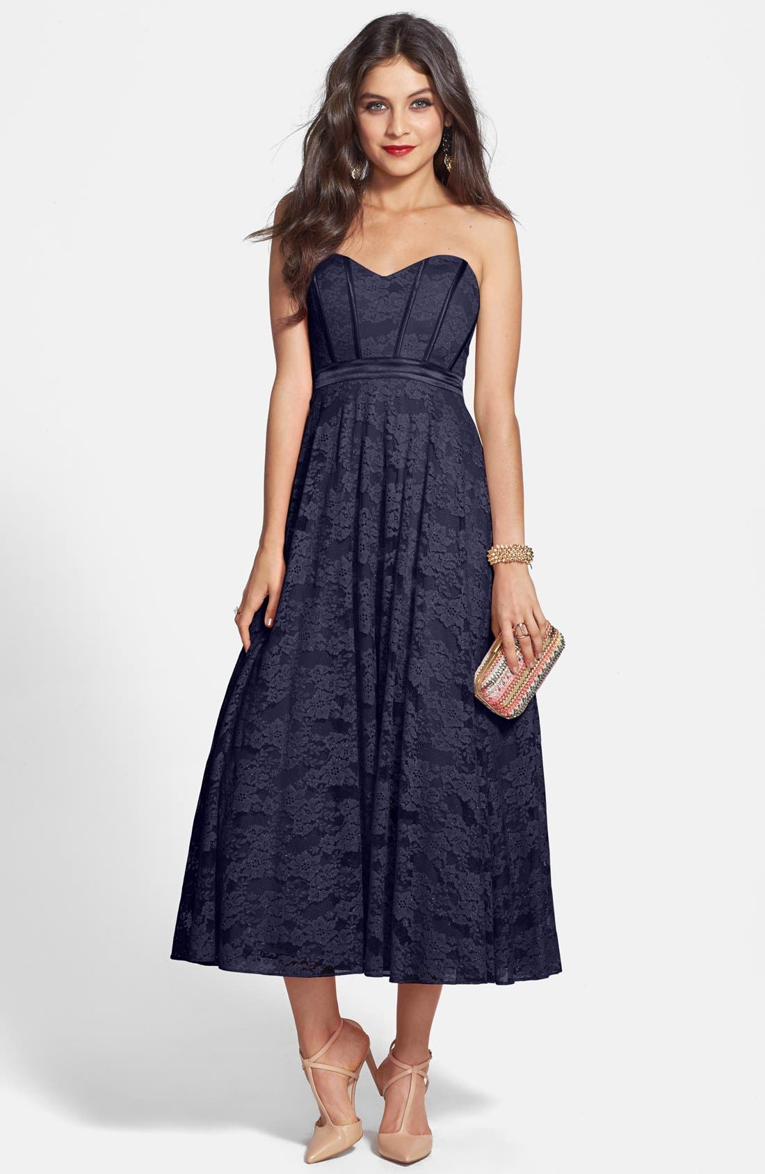 Main Image - Hailey by Adrianna Papell Strapless Glitter Lace Party Dress