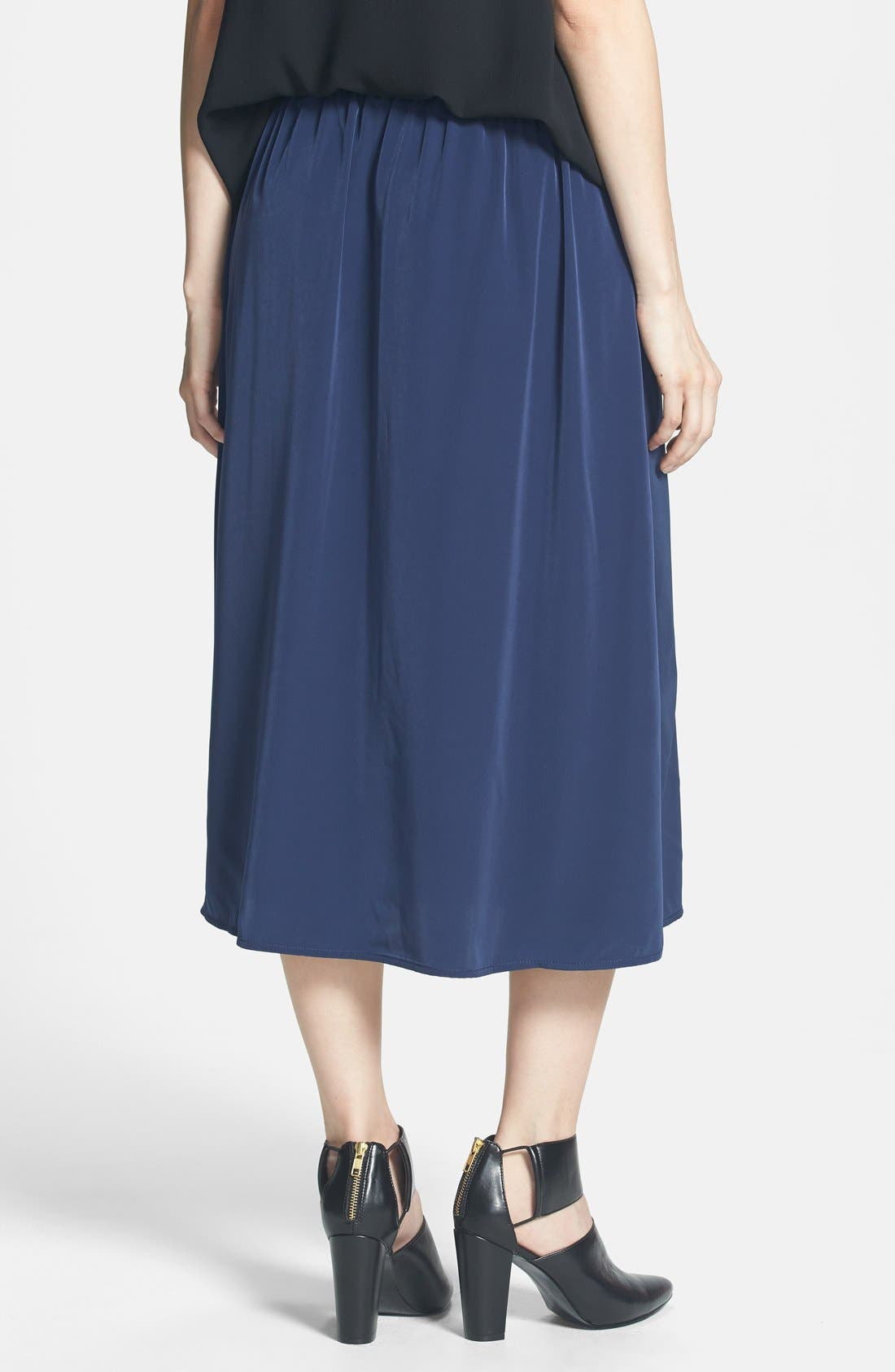 Side Slit Woven Midi Skirt,                             Alternate thumbnail 2, color,                             Navy Peacoat