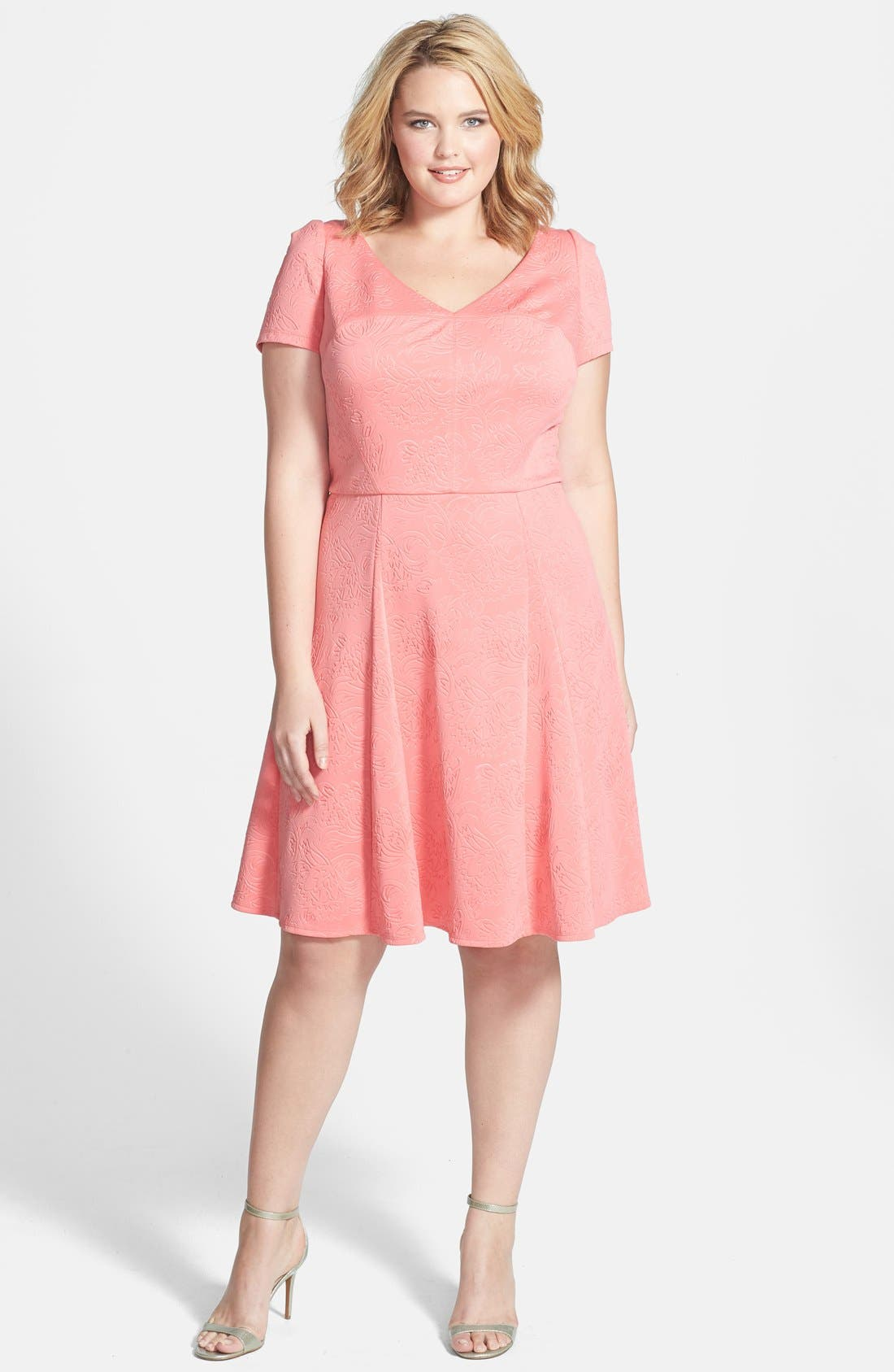 Main Image - ABS by Allen Schwartz Embossed Floral Fit & Flare Dress (Plus Size)