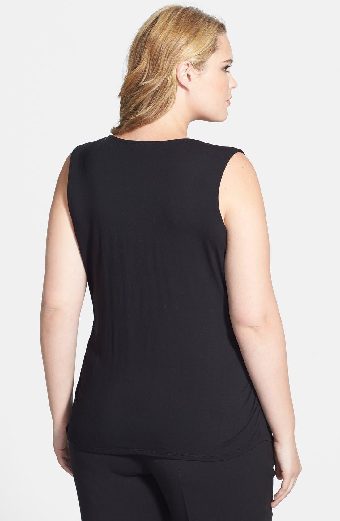 Alternate Image 2  - Sejour Sleeveless Drape Neck Shell (Plus Size)