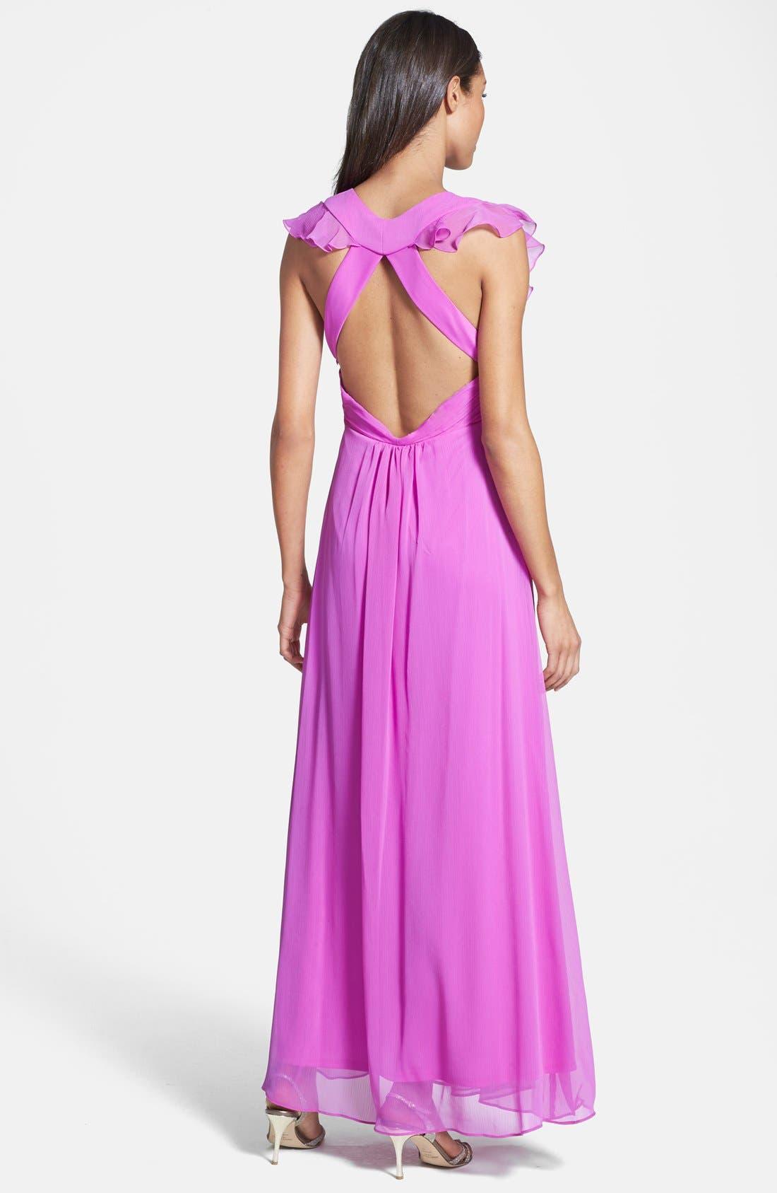 Alternate Image 2  - Jessica Simpson Ruffled Open Back Chiffon Maxi Dress
