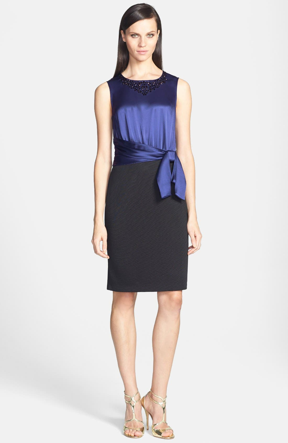 Main Image - St. John Collection Embellished Liquid Satin & Milano Knit Dress