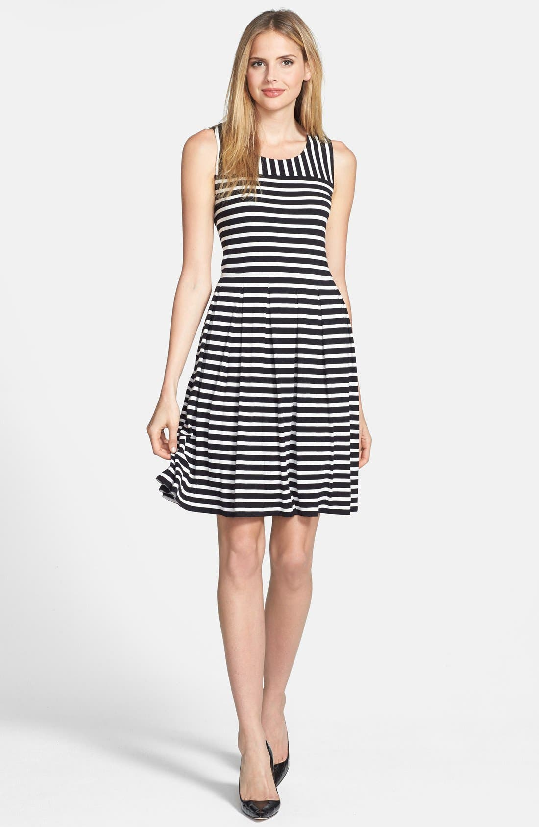 Main Image - Chaus 'Meadow Stripe' Pleated Fit & Flare Dress