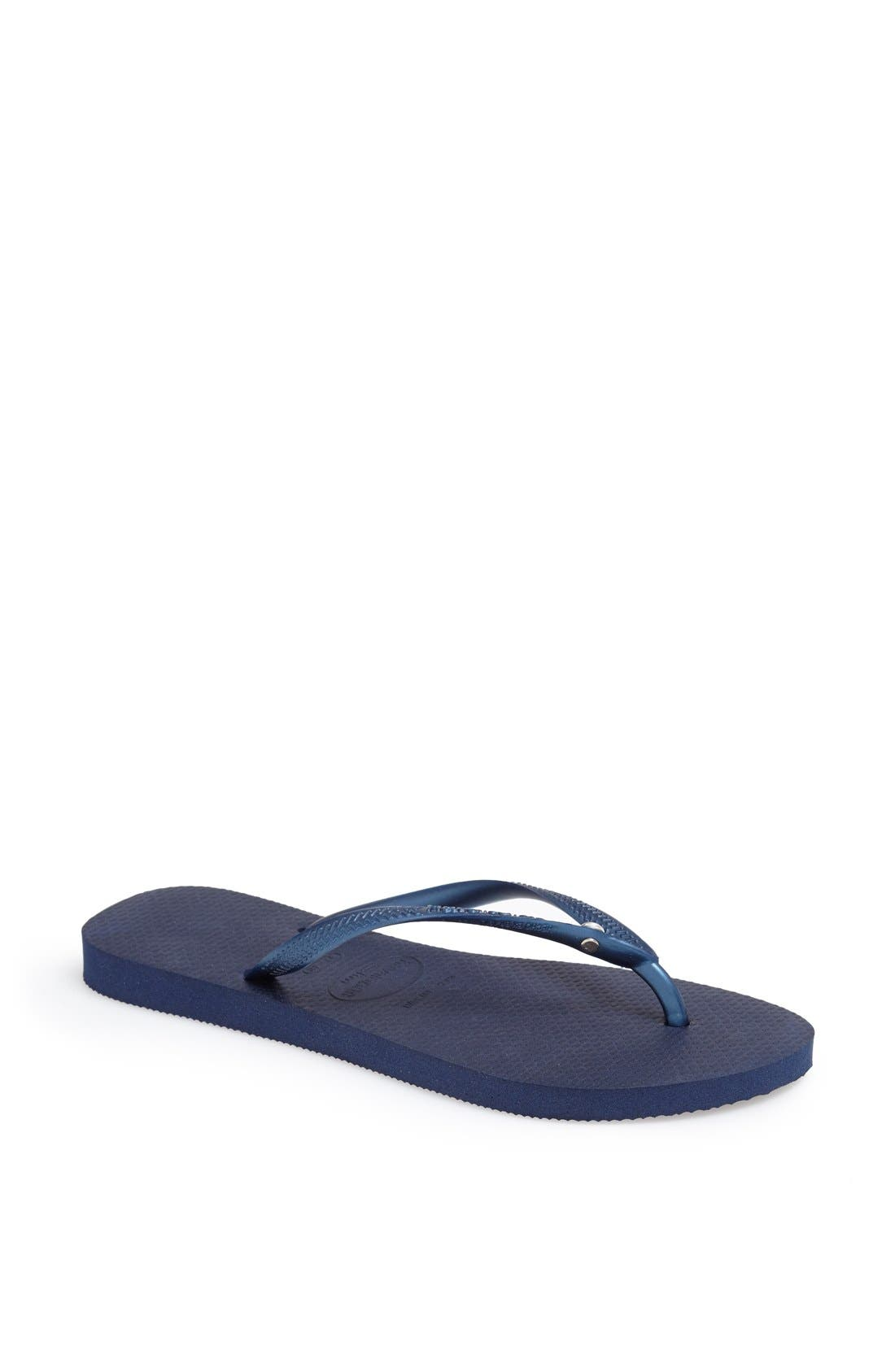 'Slim Crystal Glamour' Flip Flop,                         Main,                         color, Navy Blue