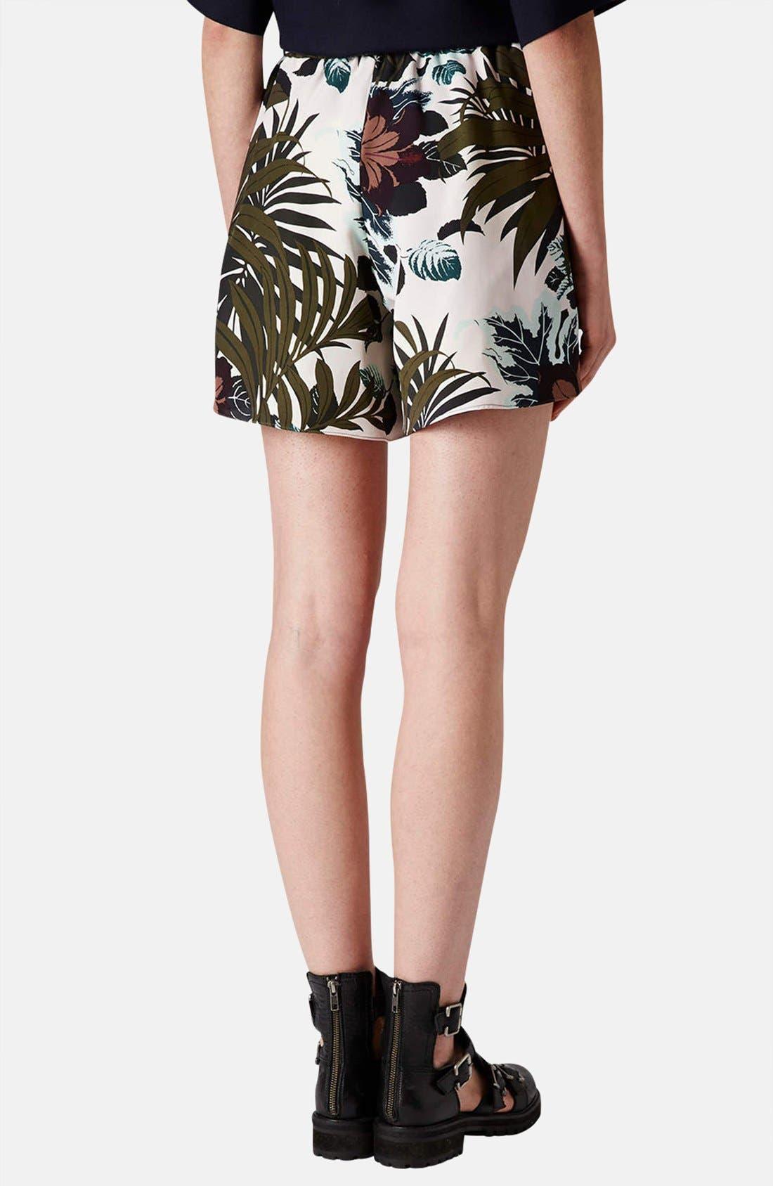 Alternate Image 2  - Topshop Jungle Print Silk Shorts