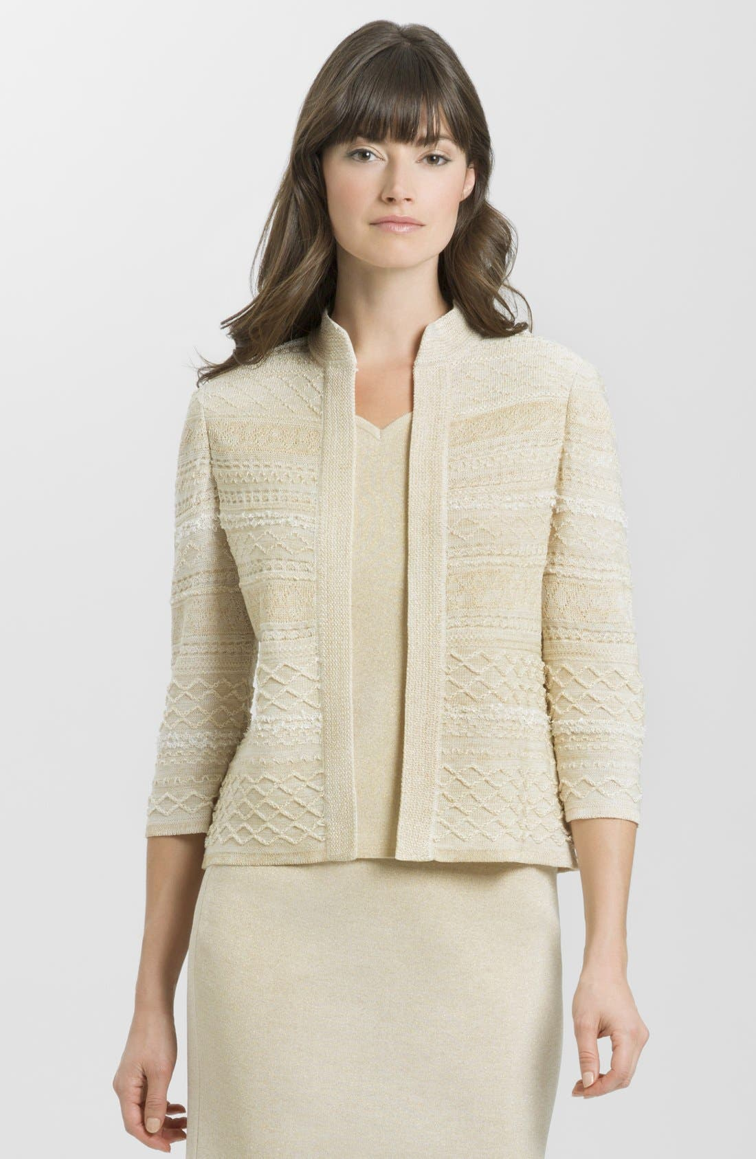 Main Image - Ming Wang Mixed Knit Three Quarter Sleeve Jacket