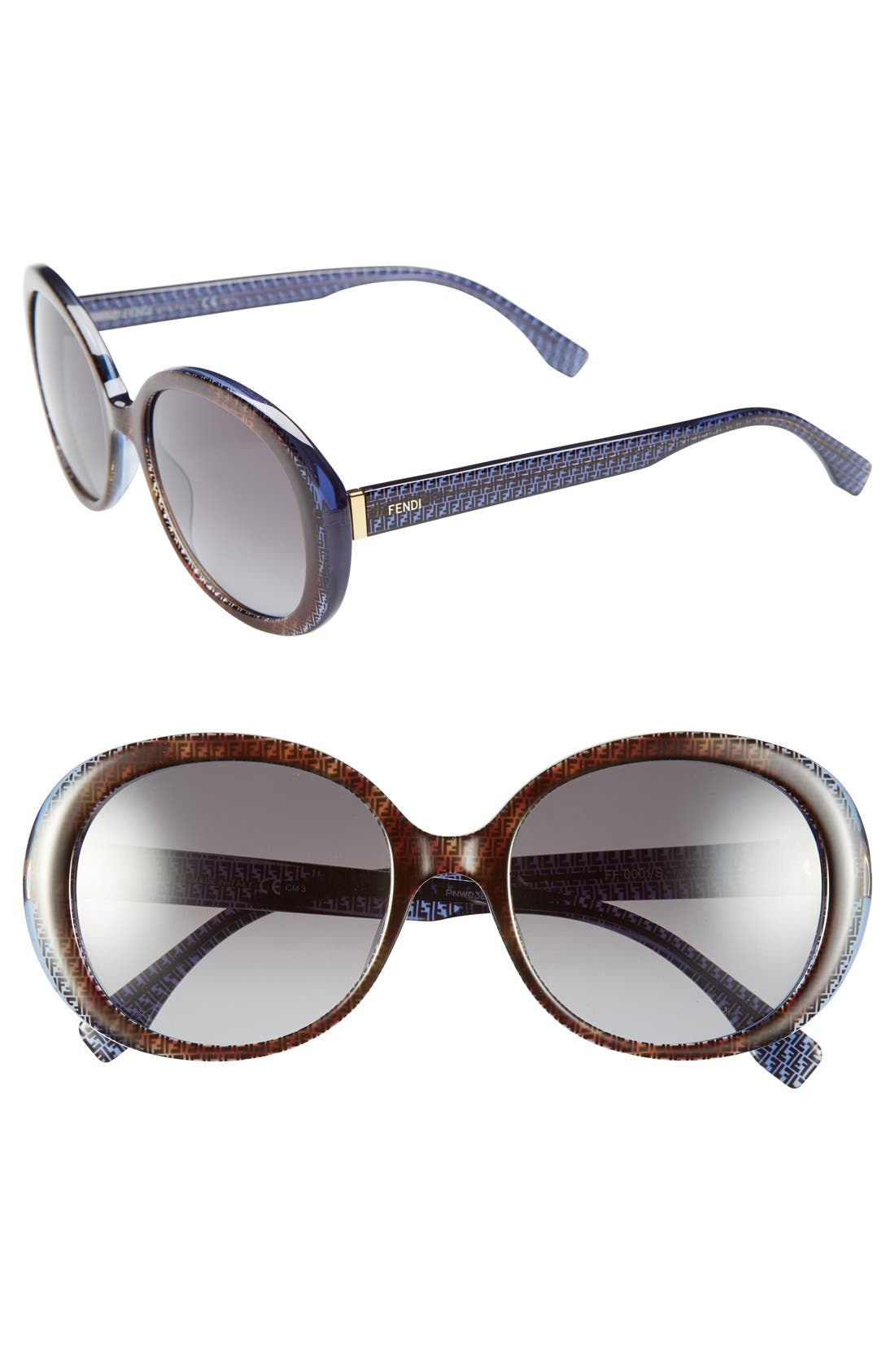 Alternate Image 1 Selected - Fendi 55mm Retro Sunglasses