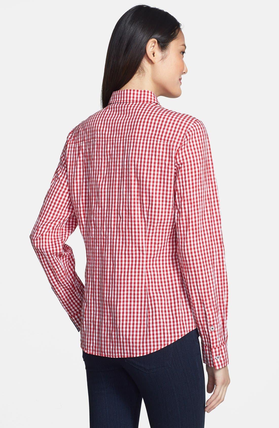 Gingham Shirt,                             Alternate thumbnail 2, color,                             Cherry/ Navy Gingham
