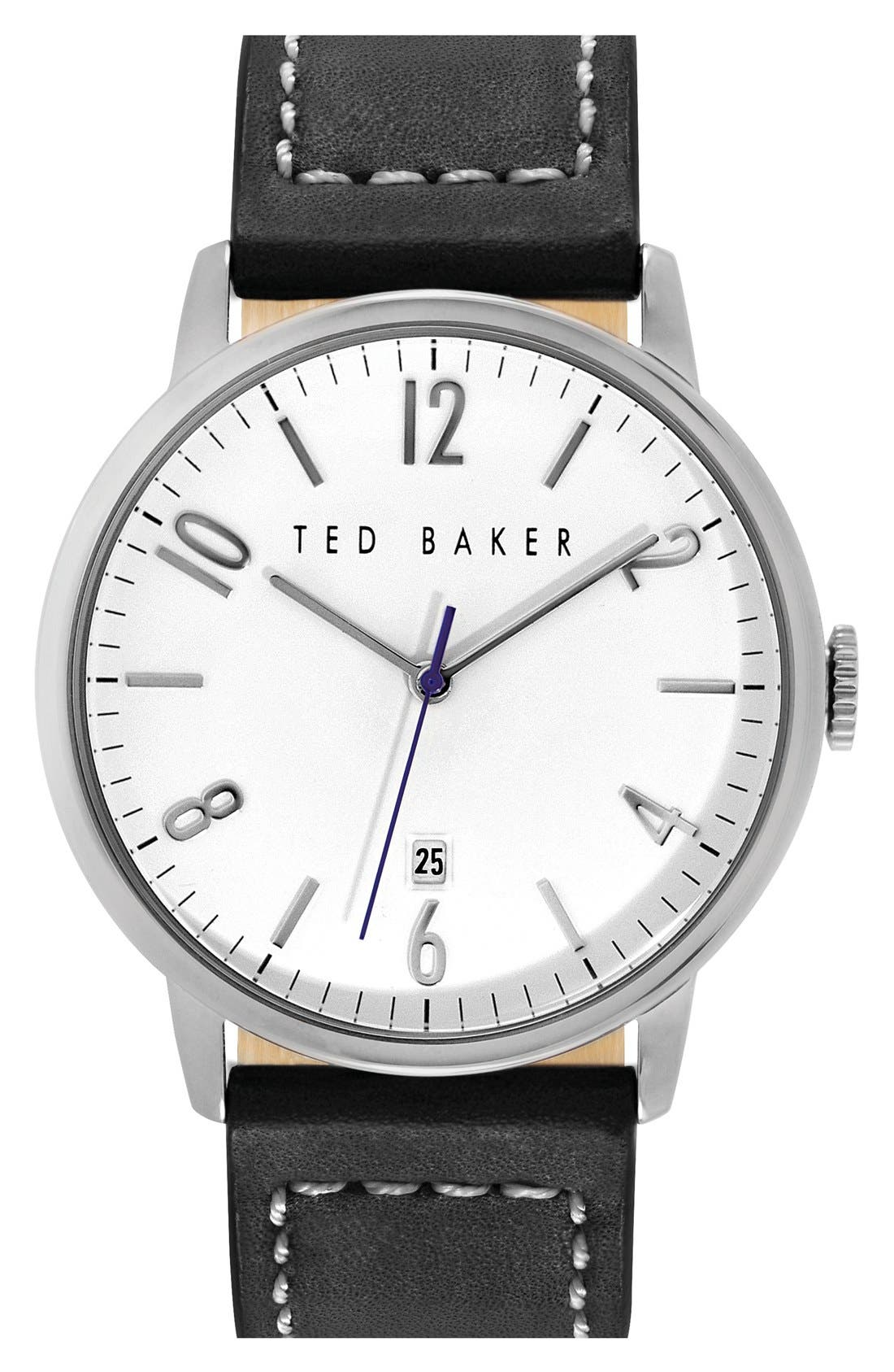 Main Image - Ted Baker London Round Leather Strap Watch, 42mm
