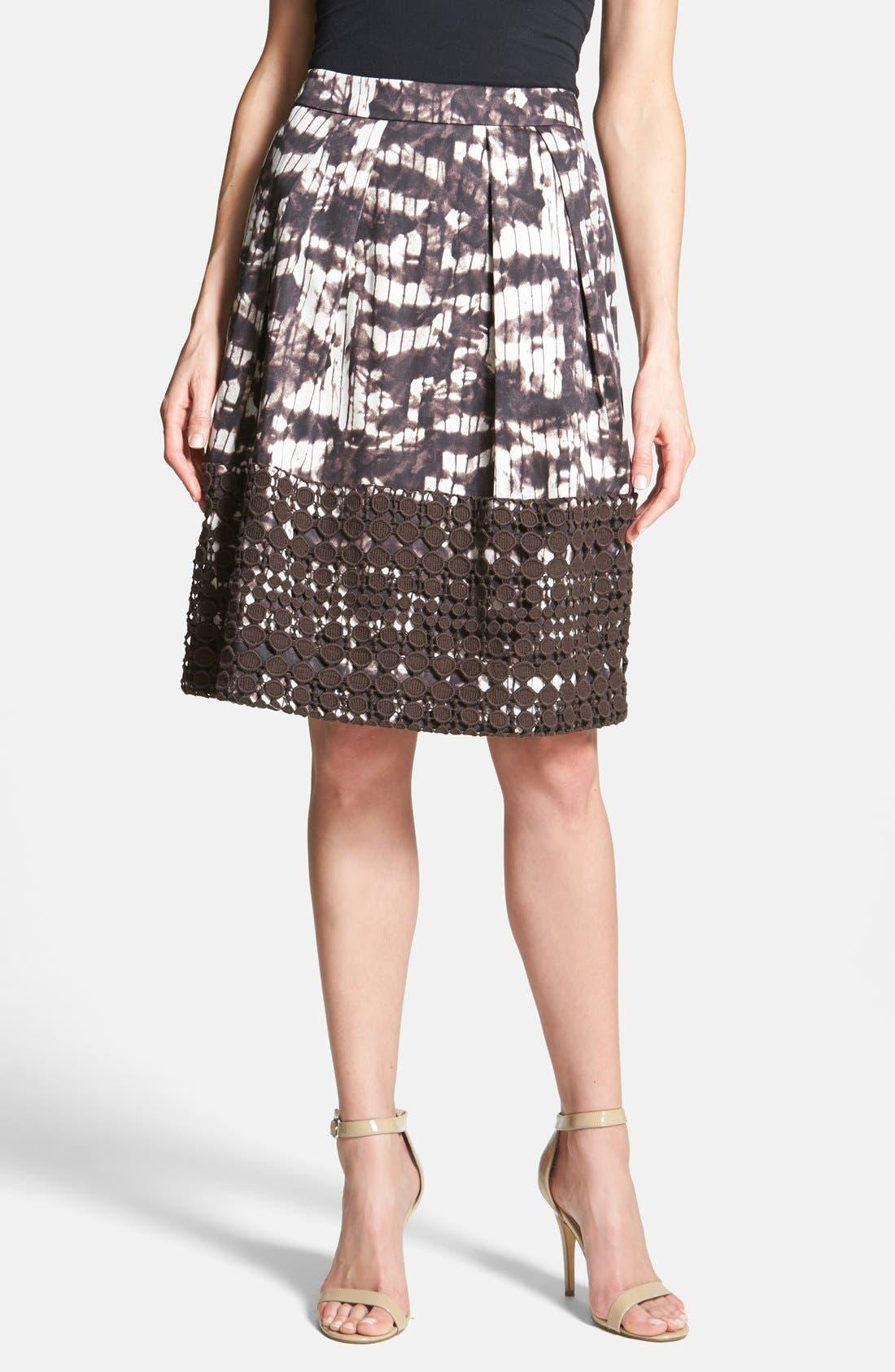 Alternate Image 1 Selected - Weekend Max Mara 'Fresco' Eyelet Trim Print Skirt