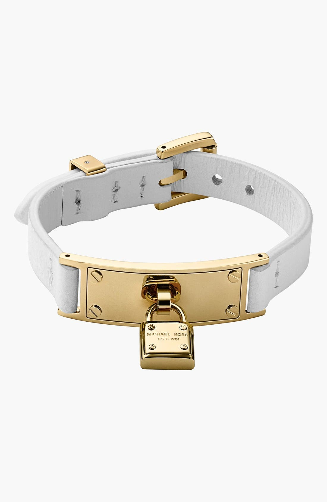 Alternate Image 1 Selected - Michael Kors 'Motif' Leather Buckle Bracelet
