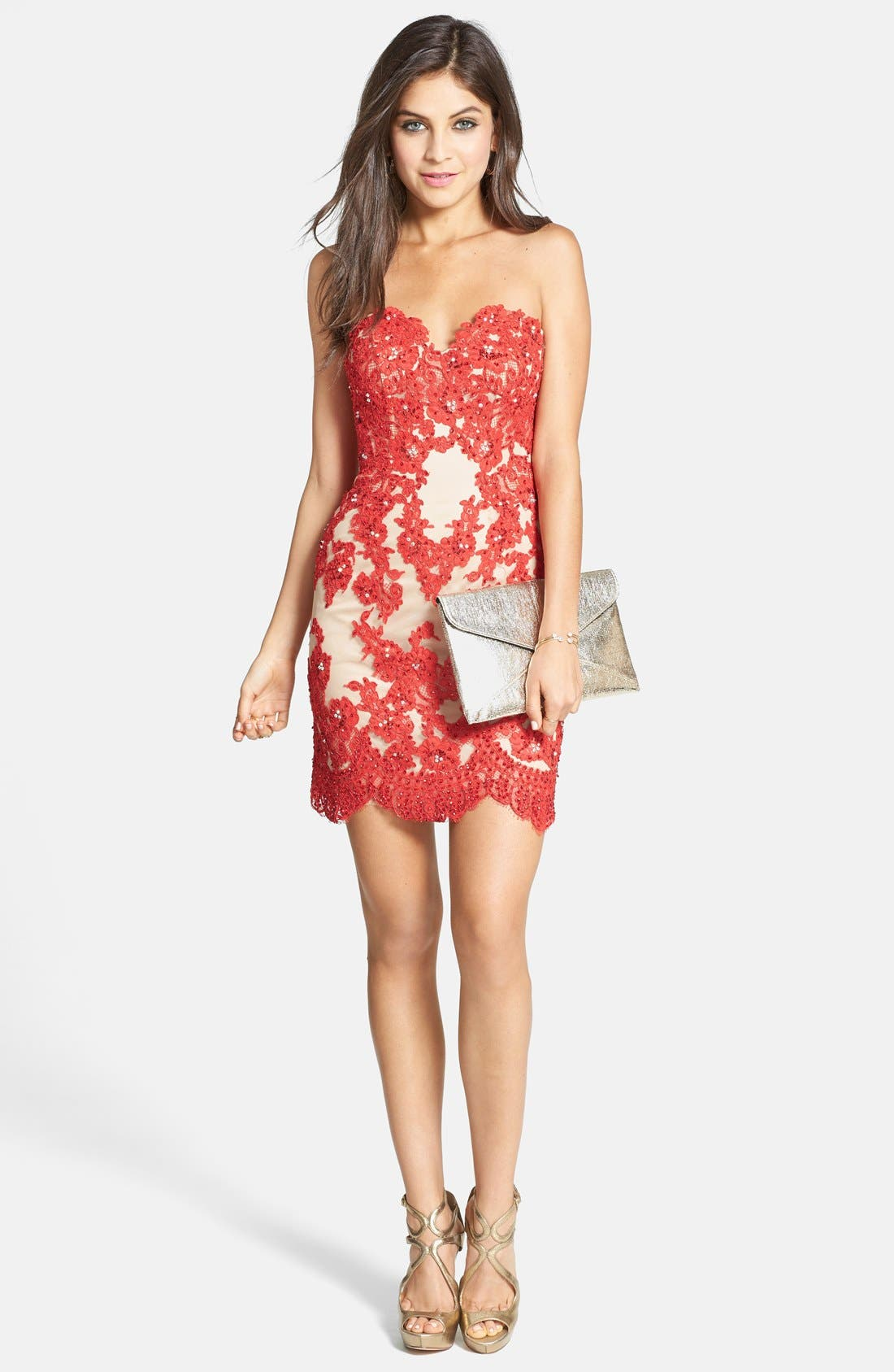 Alternate Image 3  - Sherri Hill Embellished Lace & Tulle Strapless Body-Con Dress