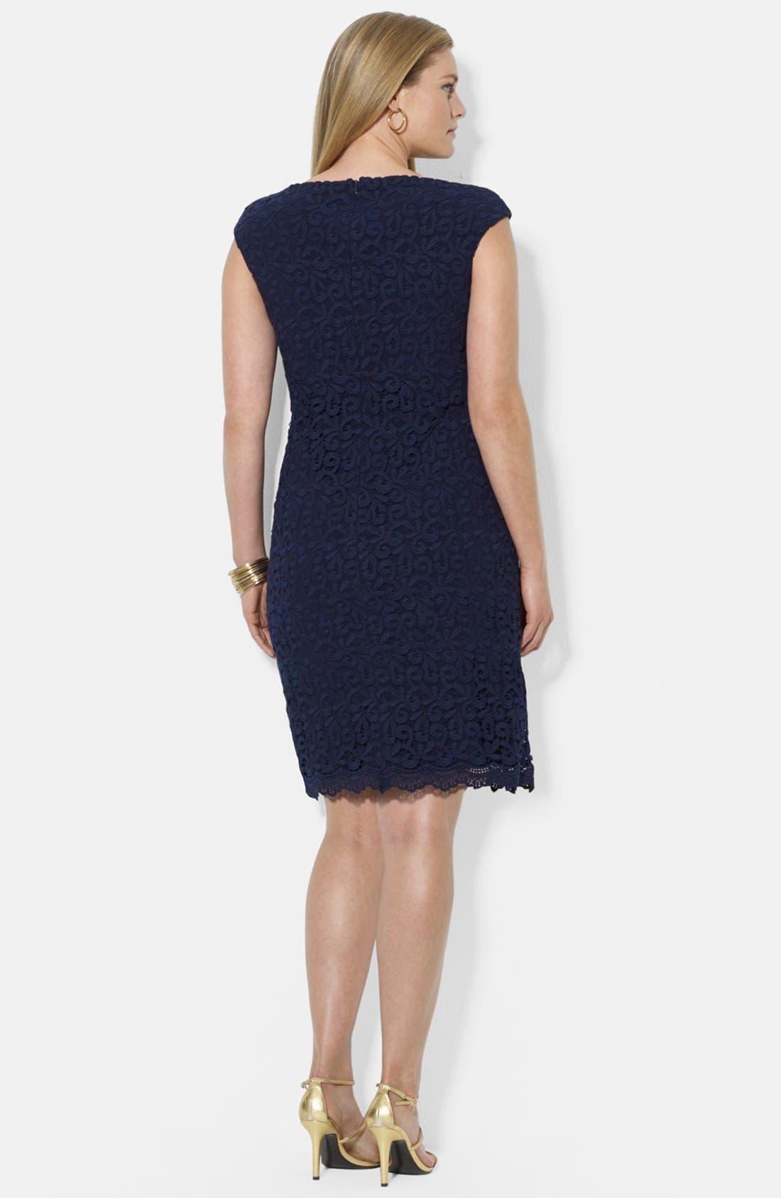 Alternate Image 2  - Lauren Ralph Lauren Boatneck Lace Sheath Dress (Plus Size)