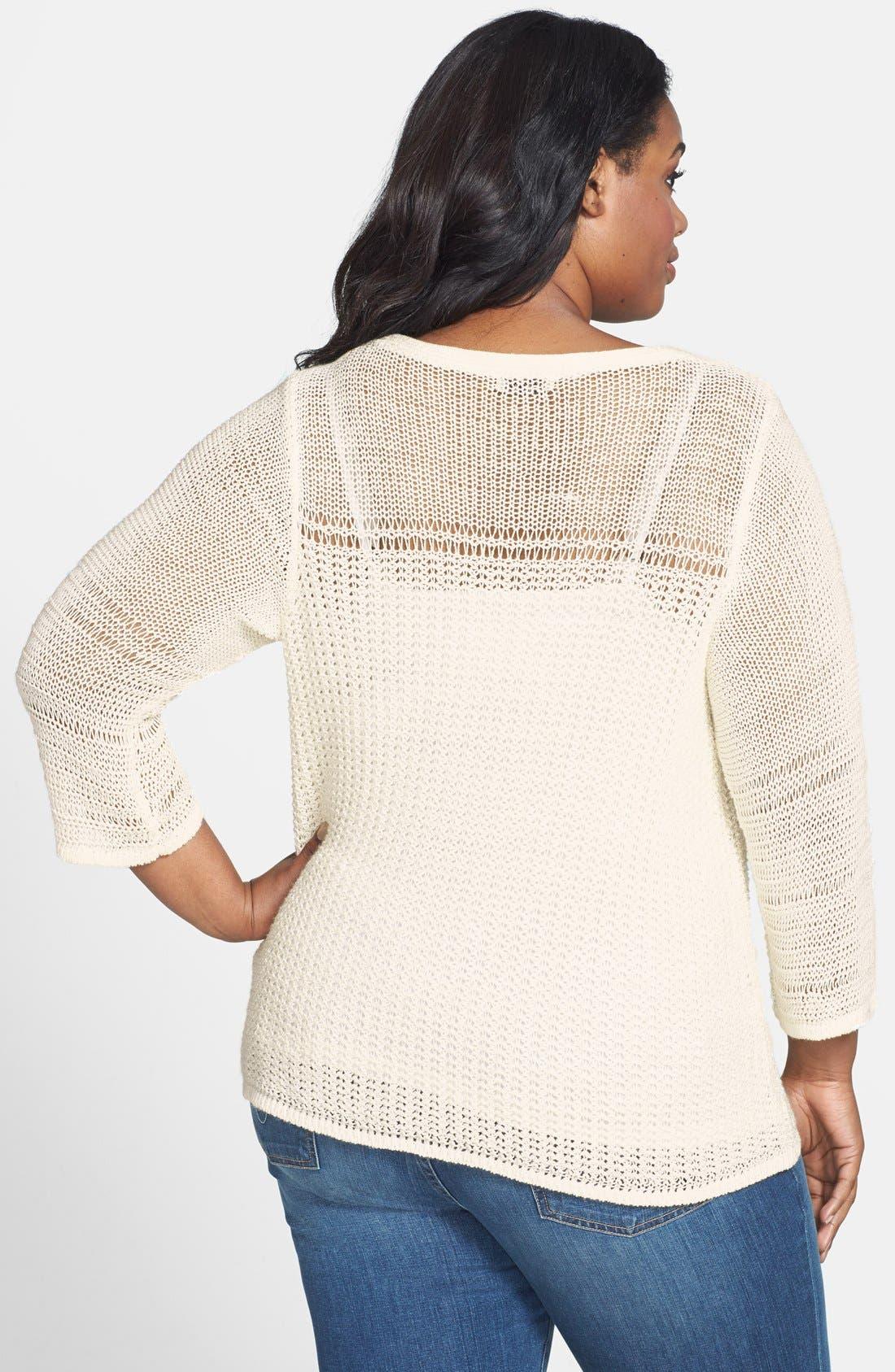 Alternate Image 2  - Lucky Brand 'Millbrae' Bell Sleeve Sweater (Plus Size)