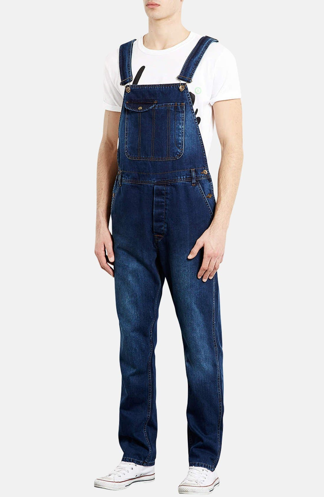 Alternate Image 1 Selected - Topman Denim Overalls