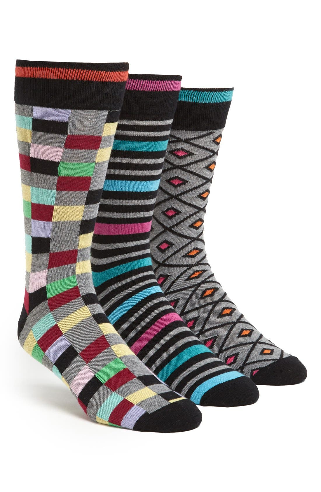 Alternate Image 1 Selected - The Rail Cotton Blend Socks (Assorted 3-Pack)