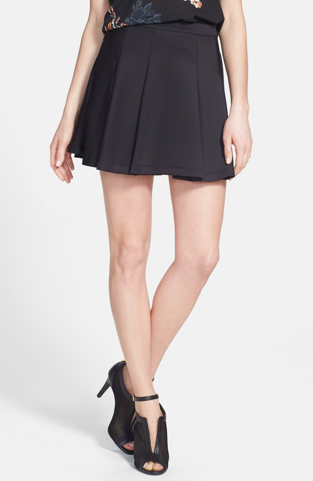 Pleat Jersey Skater Skirt,                             Main thumbnail 1, color,                             Black
