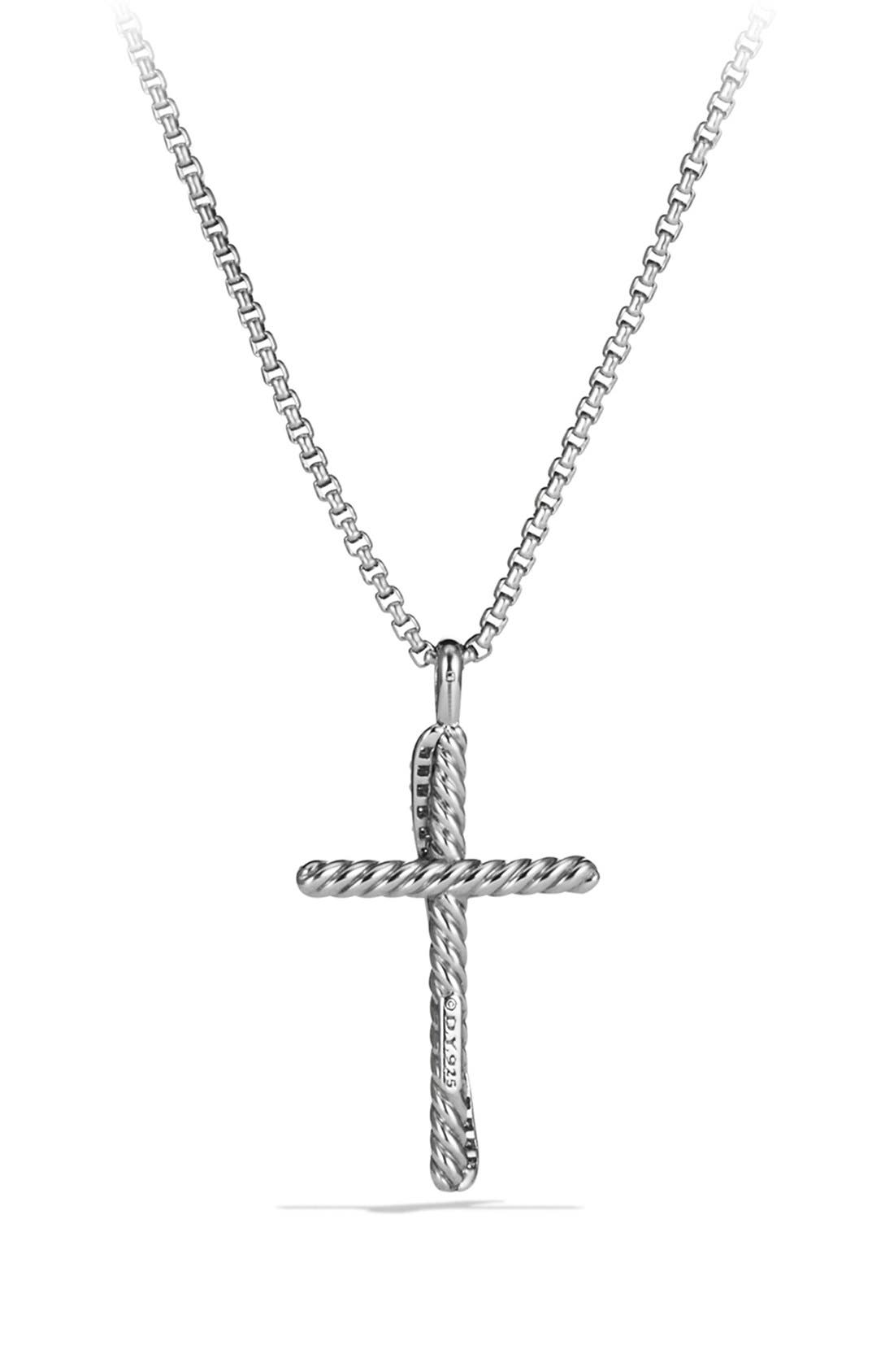 'Crossover' Cross Necklace,                             Alternate thumbnail 3, color,                             Diamond