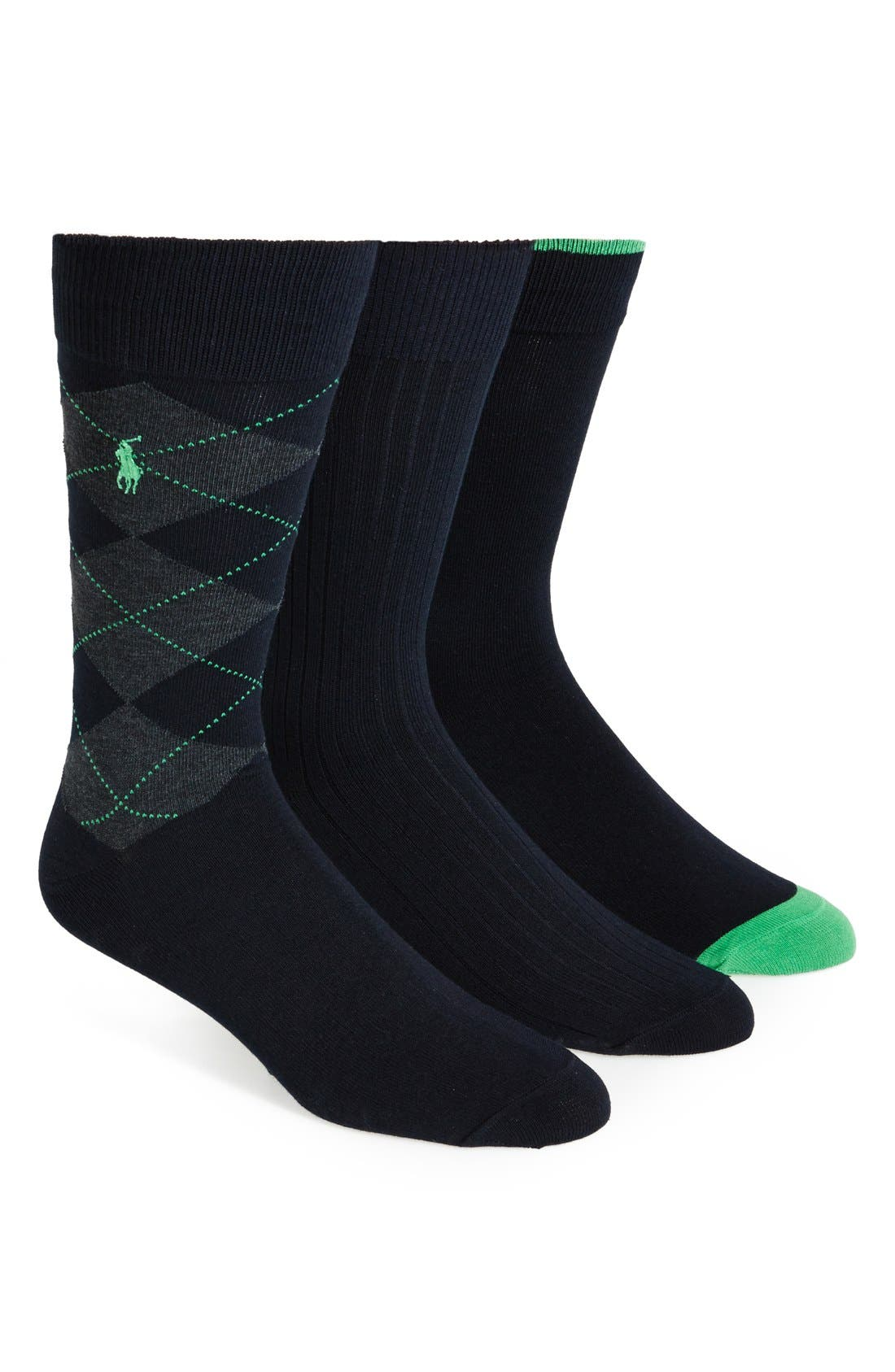 Alternate Image 1 Selected - Polo Ralph Lauren Cotton Blend Socks (3-Pack)