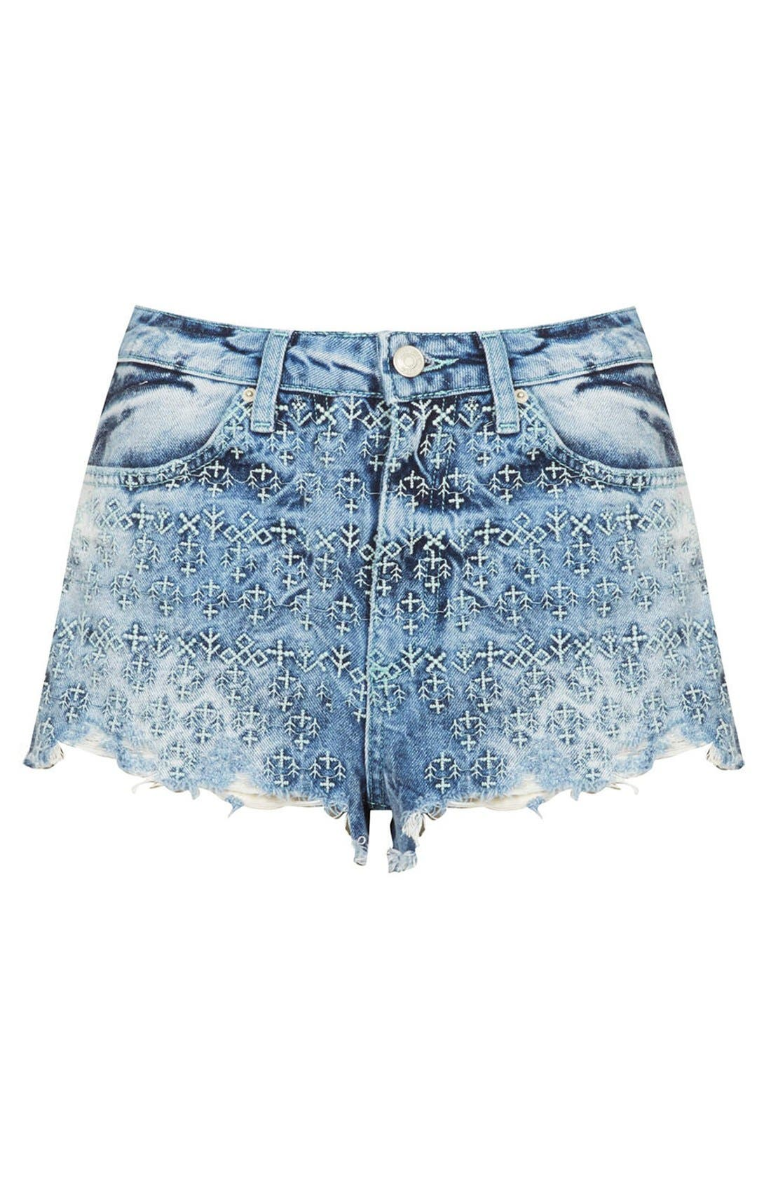 Alternate Image 3  - Topshop Moto 'Folk Law' Embroidered Denim Shorts