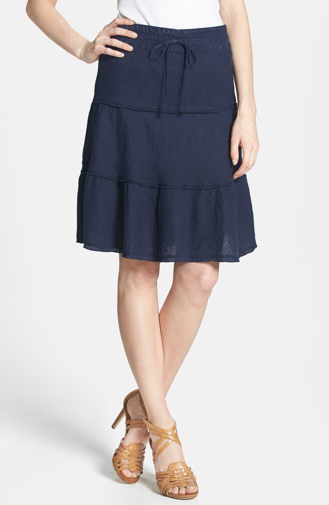 Main Image - Caslon® Drawstring Waist Tiered Linen Skirt (Regular & Petite)