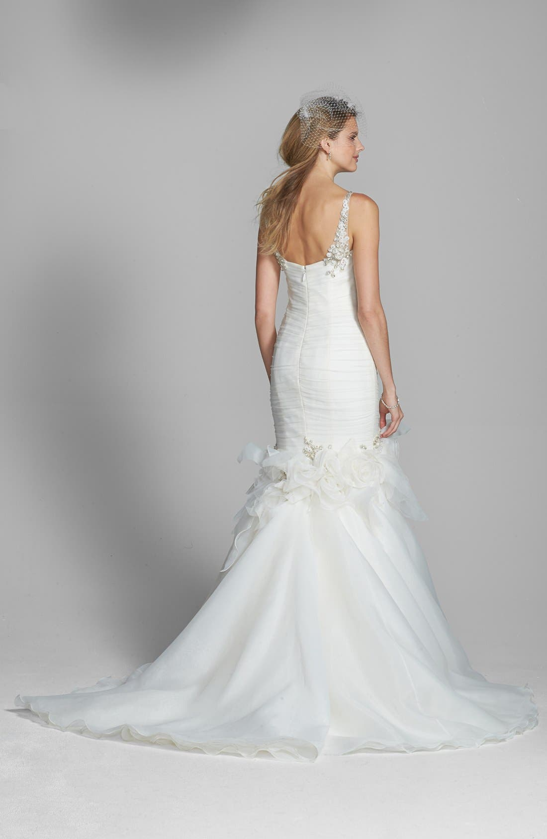Alternate Image 2  - Badgley Mischka Bridal 'Grace' Embellished Tulle & Chiffon Mermaid Dress (In Stores Only)