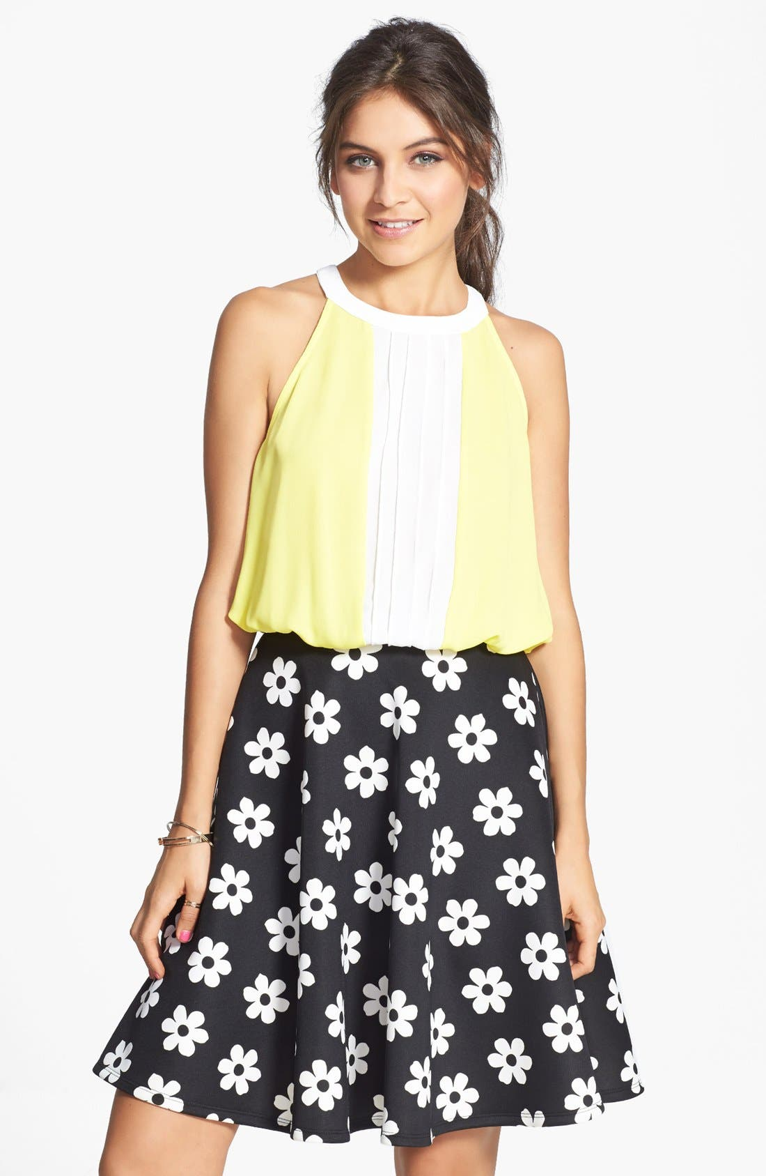 Alternate Image 1 Selected - Lily White Pleat Colorblock Halter Top (Juniors)