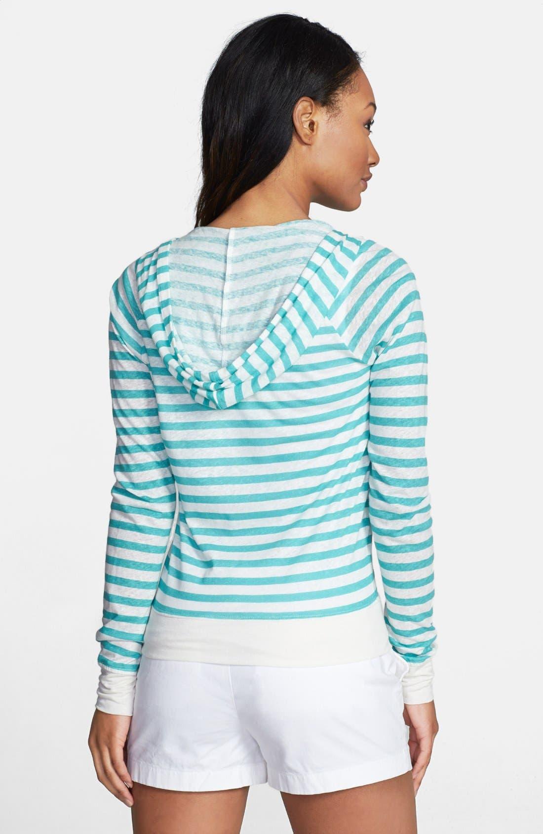Alternate Image 2  - Caslon® Long Sleeve Linen Blend Zip Hoodie