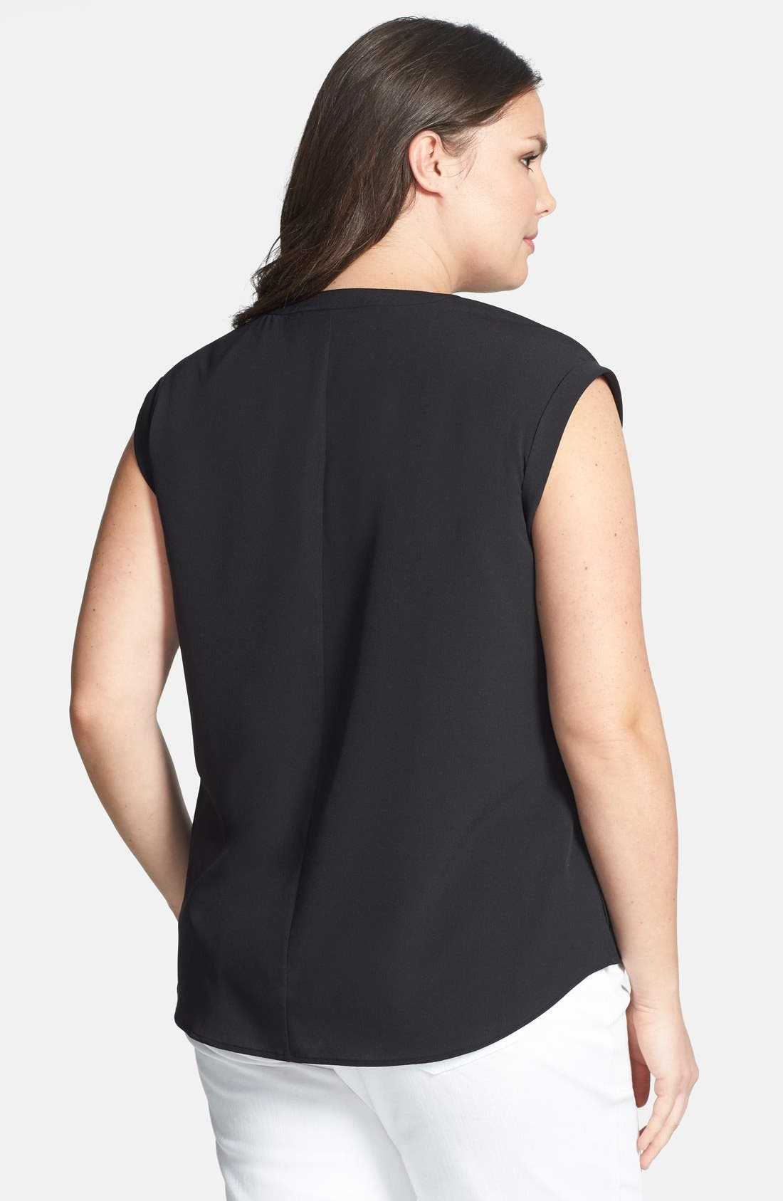Alternate Image 2  - Sejour Split Neck Popover Blouse (Plus Size)