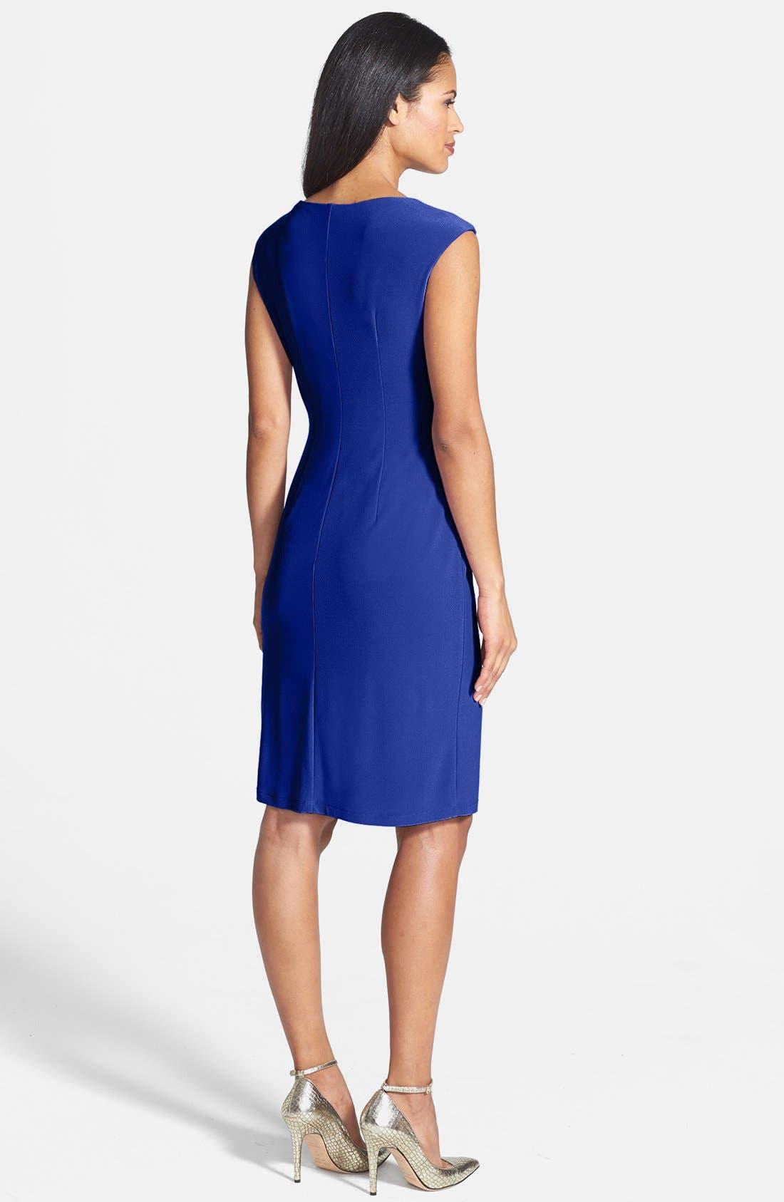 Alternate Image 2  - Ellen Tracy Side Gathered Crepe Sheath Dress