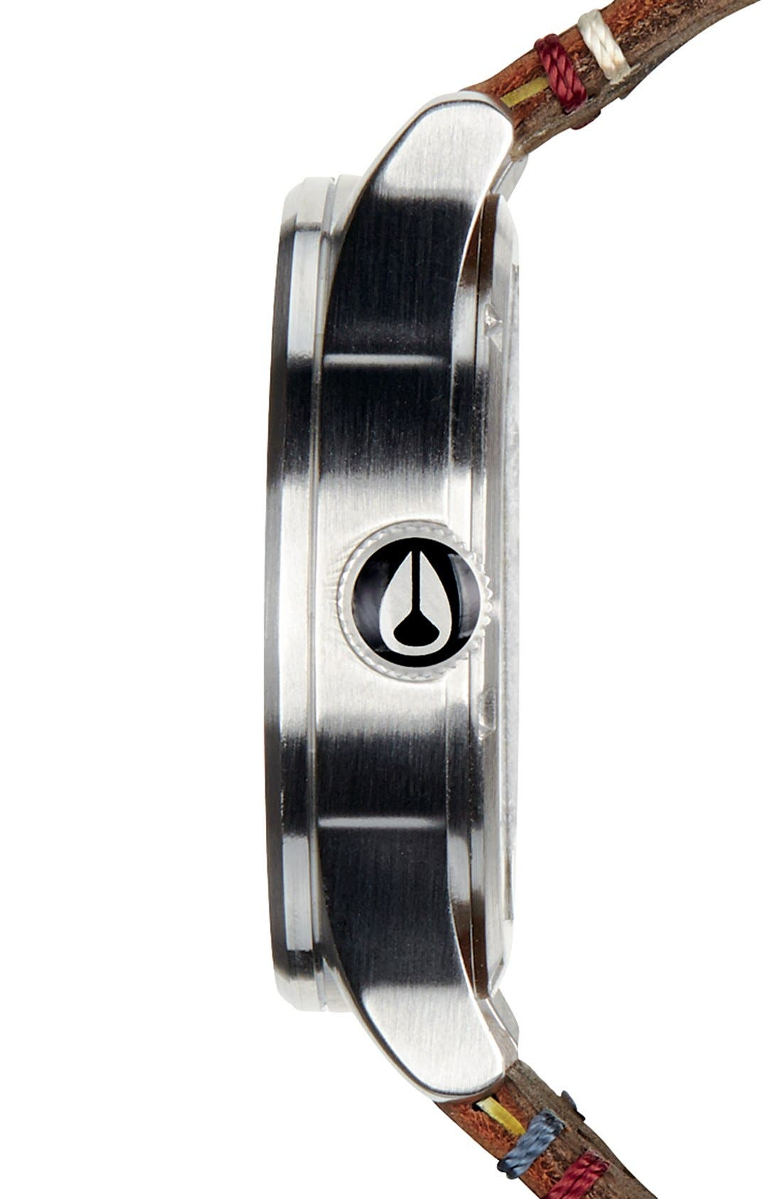 Alternate Image 2  - Nixon The Sentry Leather Strap Watch, 42mm