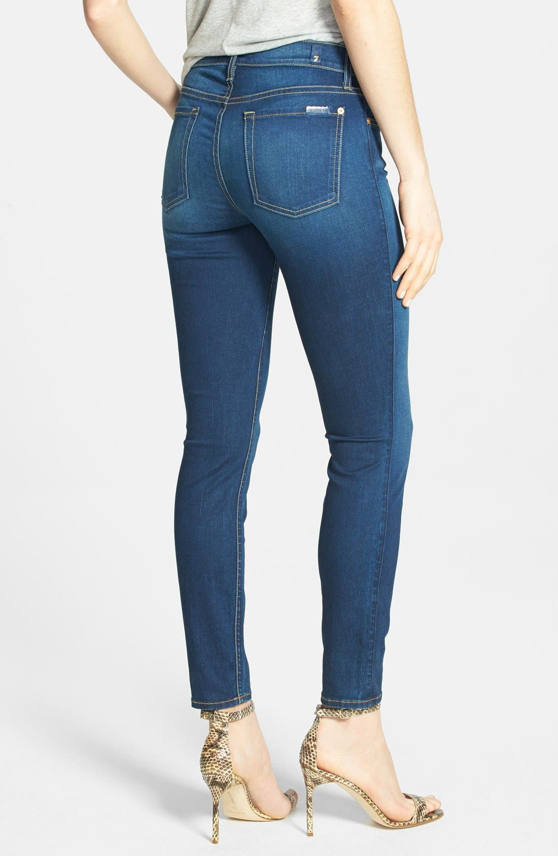 Alternate Image 2  - 7 For All Mankind® Mid Rise Crop Skinny Jeans (Bright Blue Sateen)