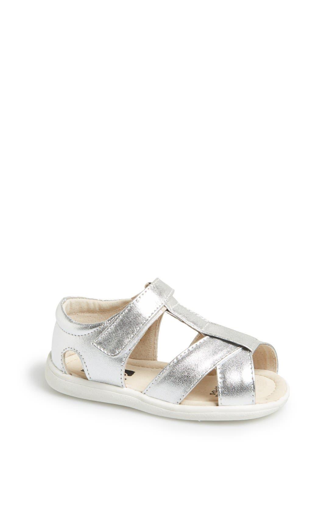 Main Image - See Kai Run 'Everly' Metallic Leather Sandal (Baby & Walker)