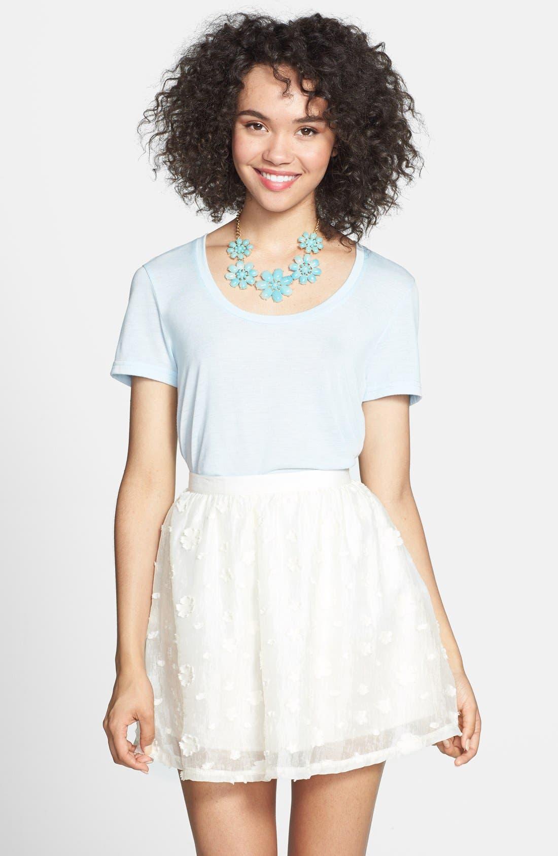 Alternate Image 1 Selected - Lush Floral Textured Skirt (Juniors)