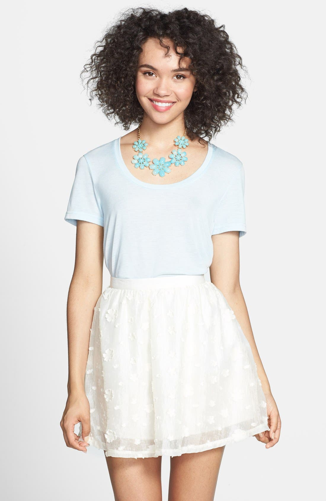 Main Image - Lush Floral Textured Skirt (Juniors)