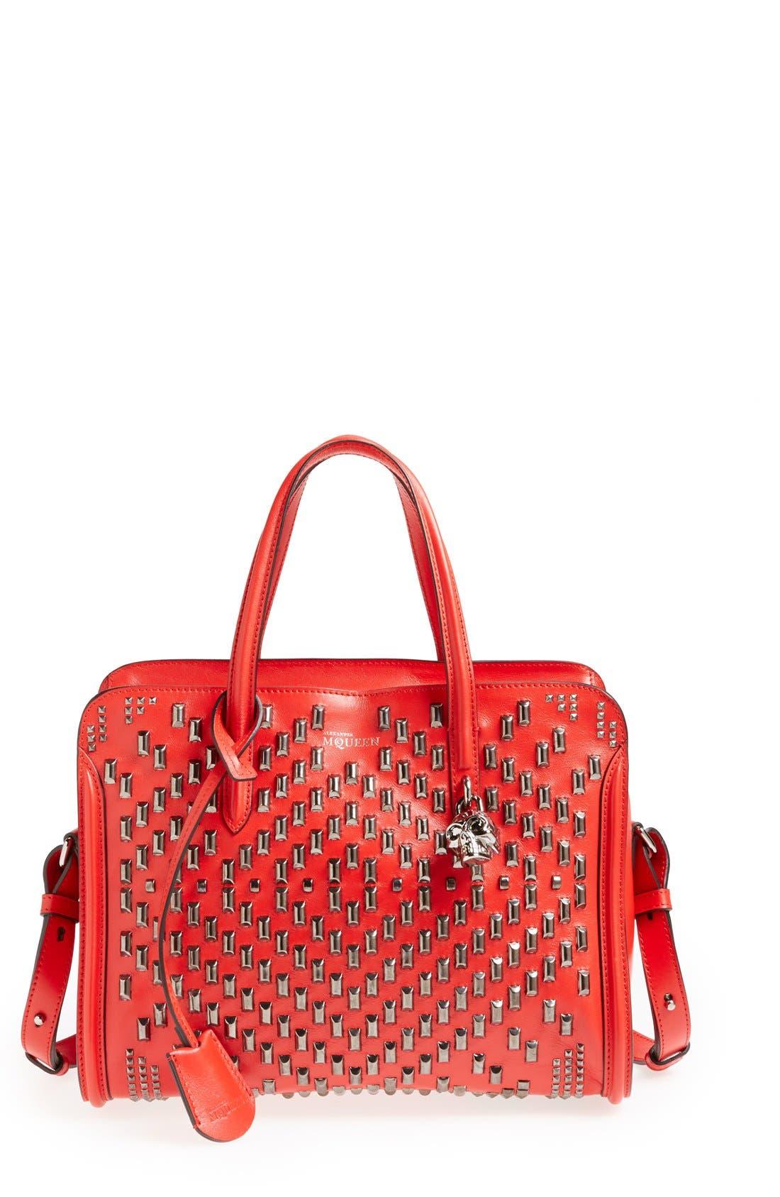 Main Image - Alexander McQueen 'Small Padlock' Studded Duffel Bag