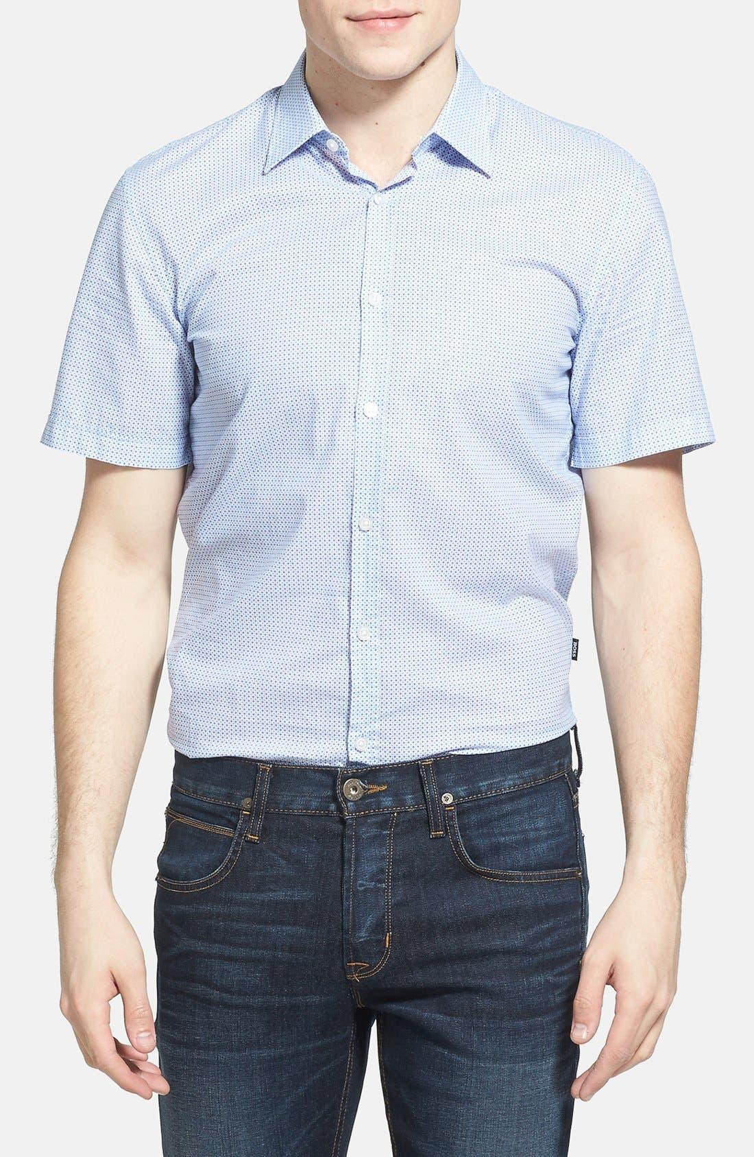 Main Image - BOSS HUGO BOSS 'Marco' Slim Fit Short Sleeve Print Sport Shirt
