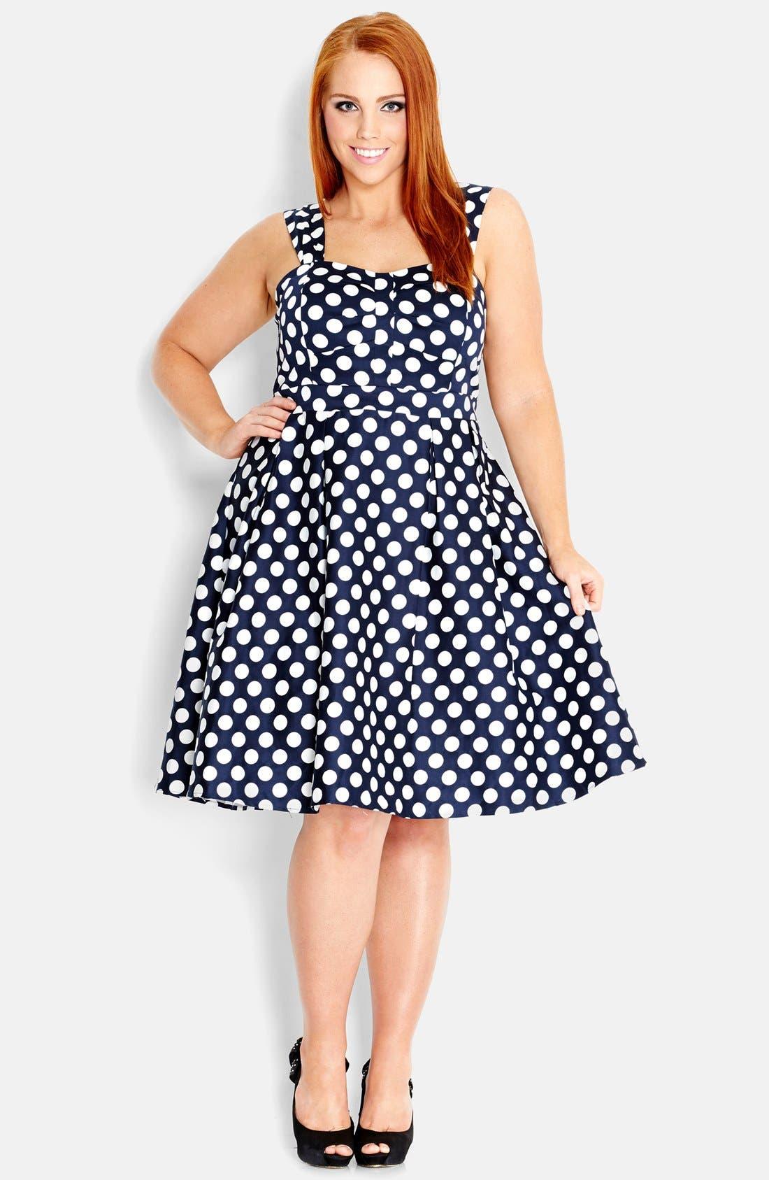 Main Image - City Chic 'Spotty Fun' Fit & Flare Dress (Plus Size)