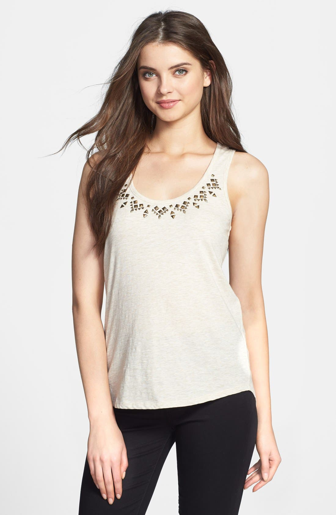 Main Image - Two by Vince Camuto Embellished Neckline Cotton Tank