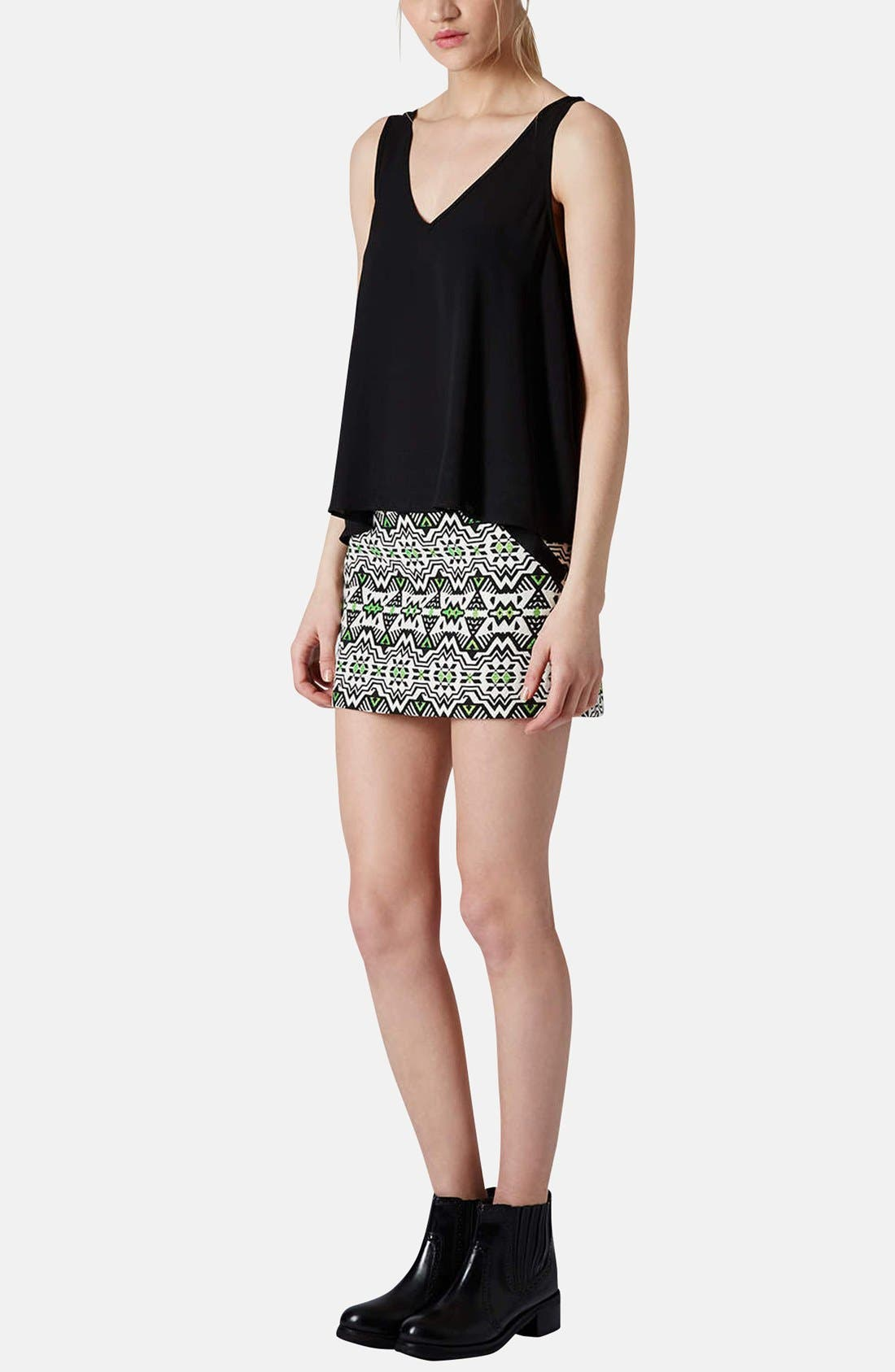 Alternate Image 5  - Topshop Geo Jacquard Miniskirt