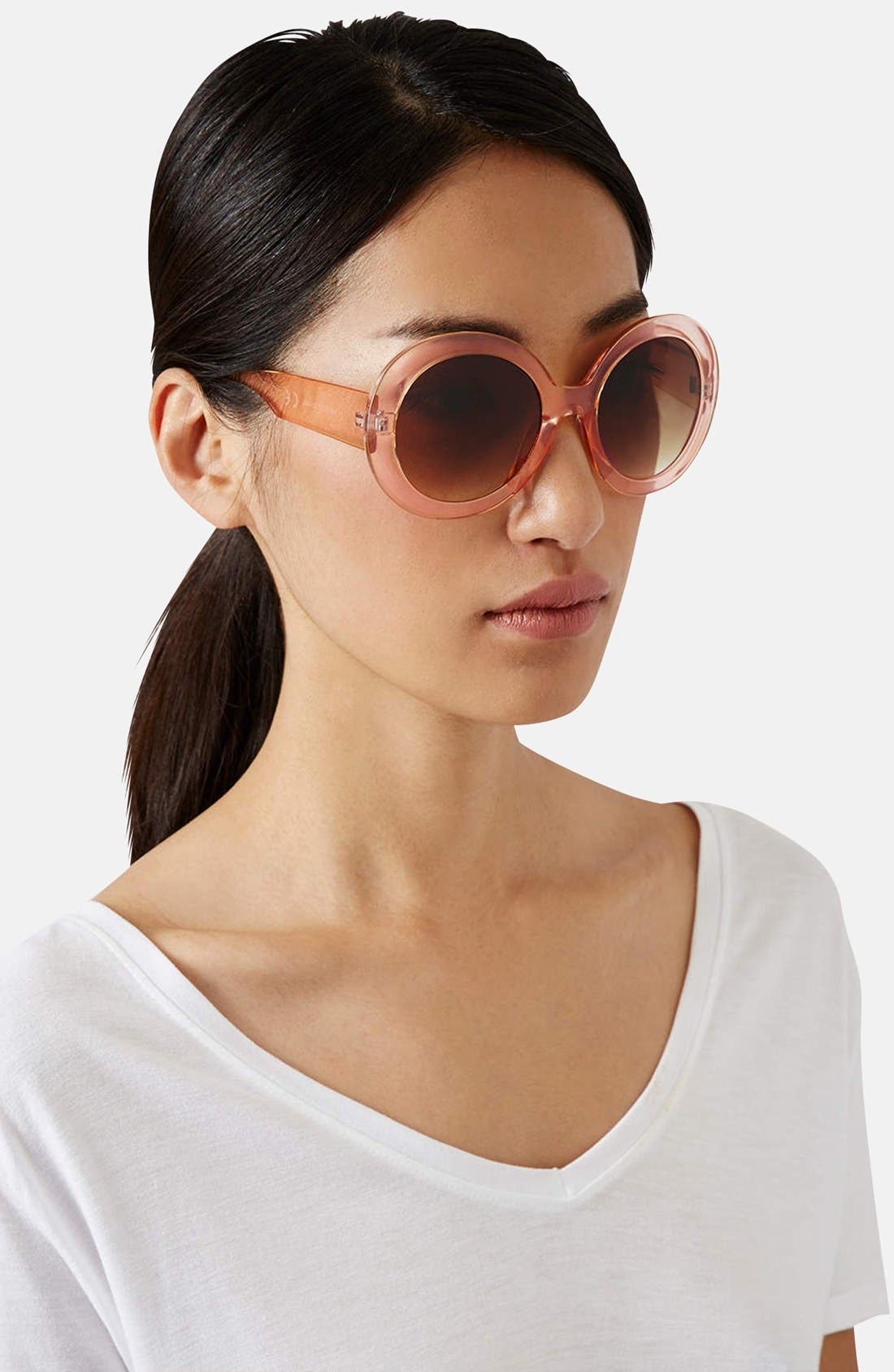 Alternate Image 2  - Topshop 'Petra' 53mm Oversize Round Sunglasses